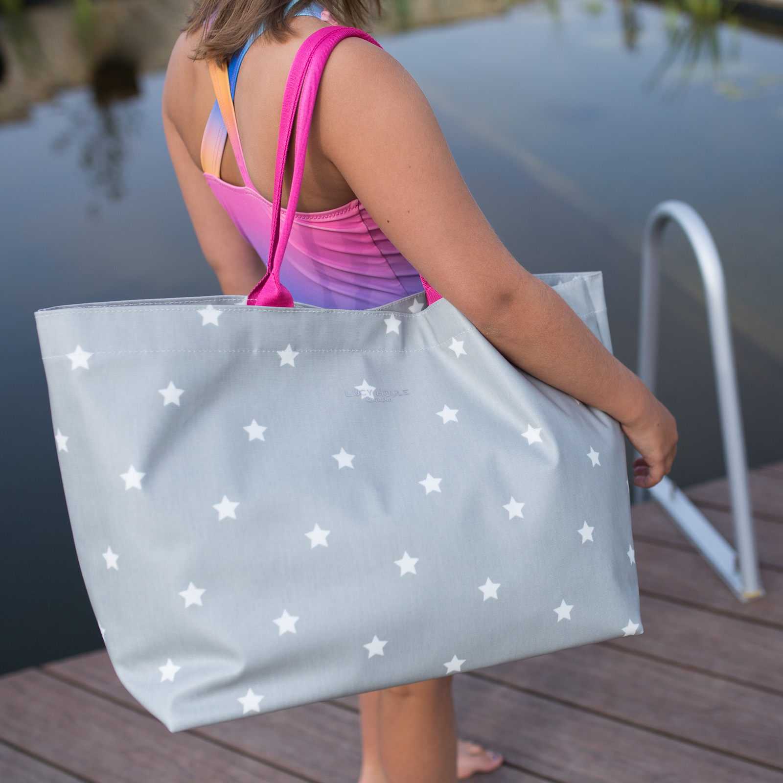 Grey & White Star Extra Large Bag