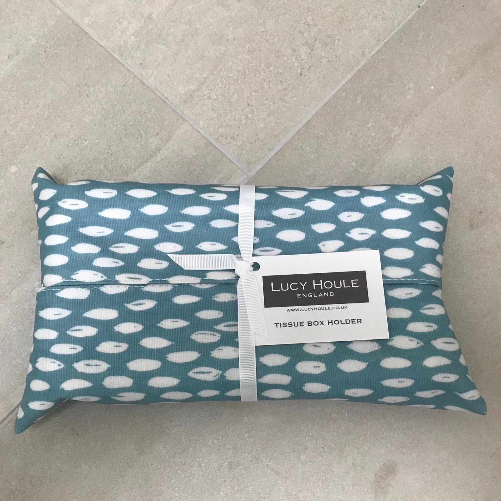 Aqua Feather Tissue Box Holder