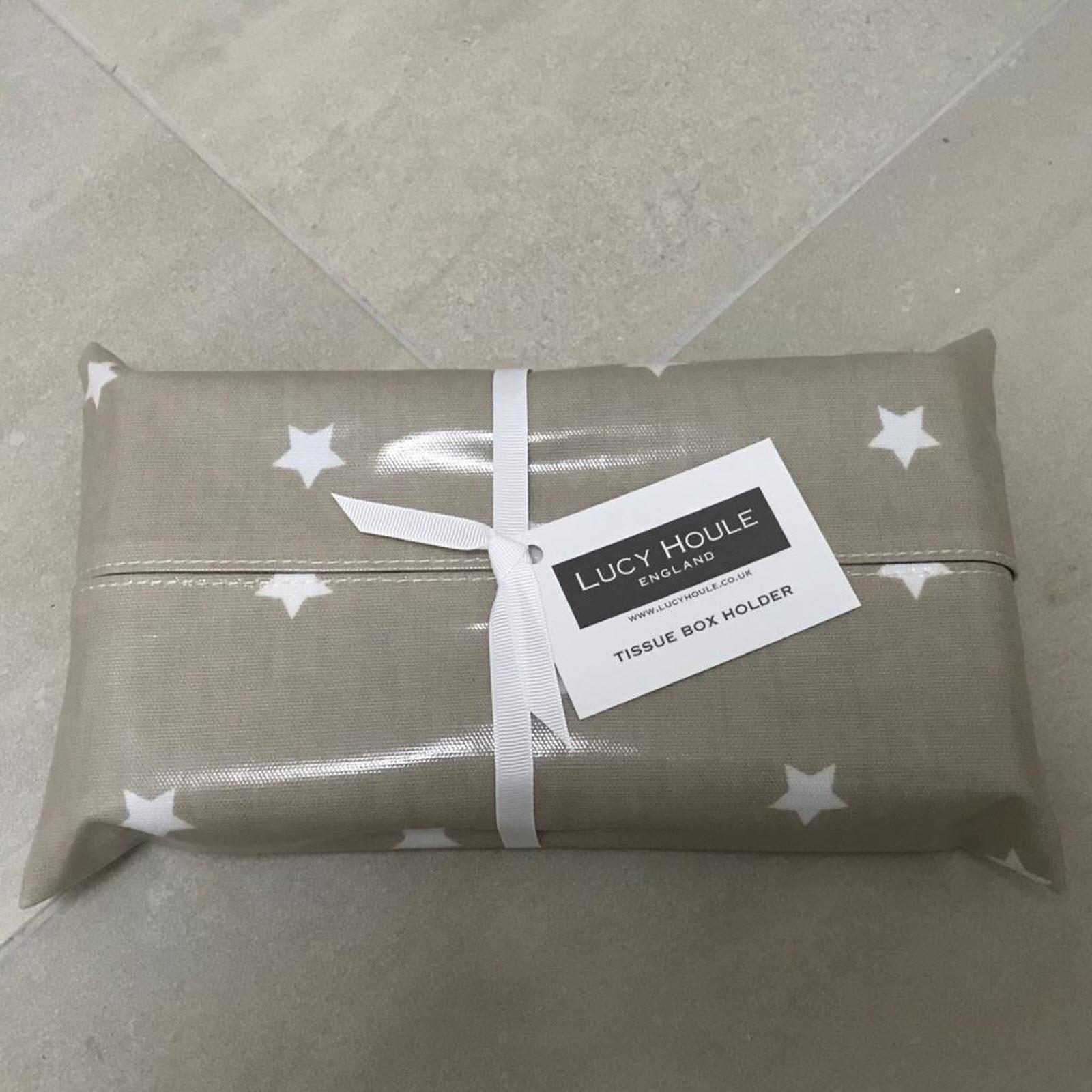 Taupe & White Star  Tissue Box Holder (Gloss)
