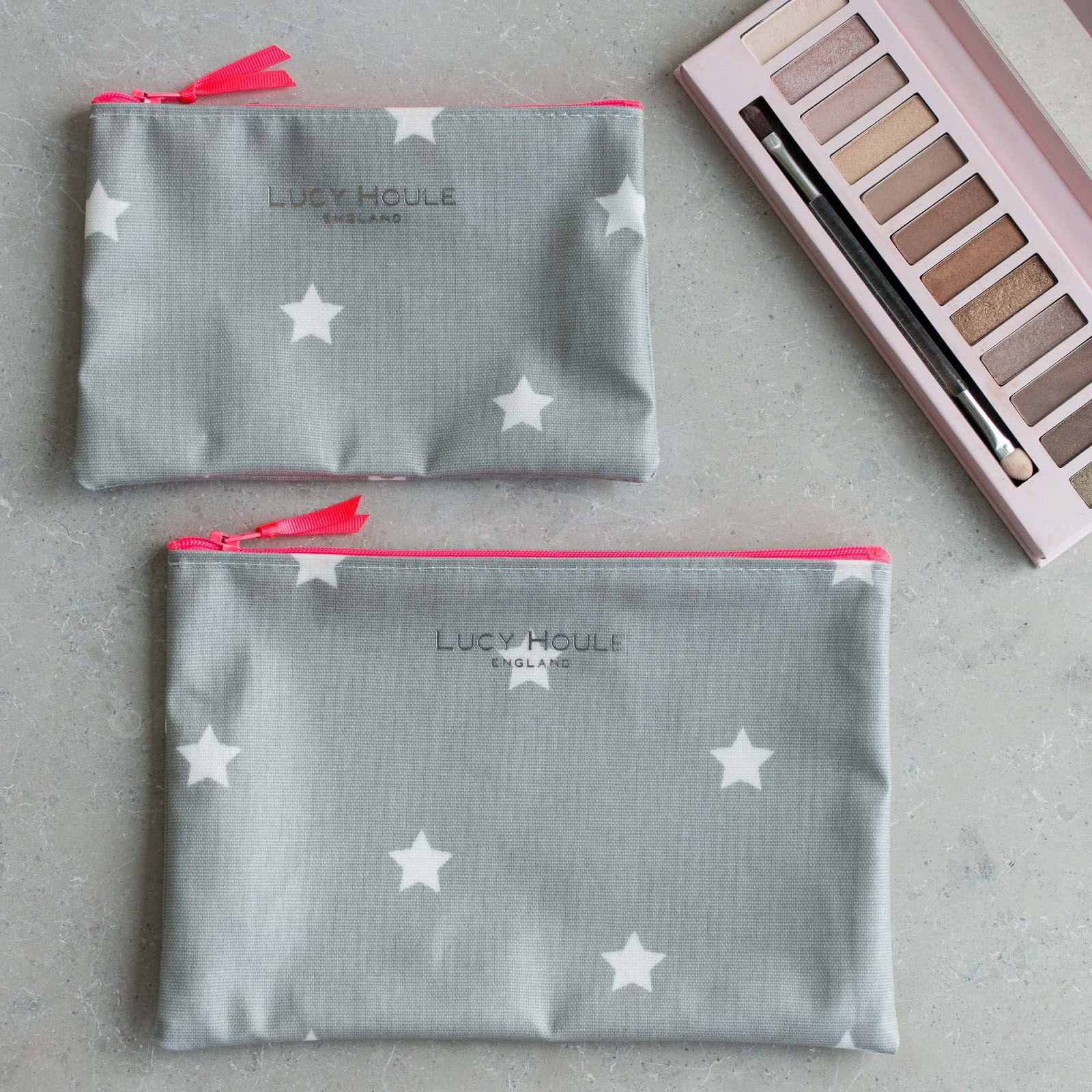 Grey & White Star Make-Up Bag with Pink Neon Zip 'Limited Edition'