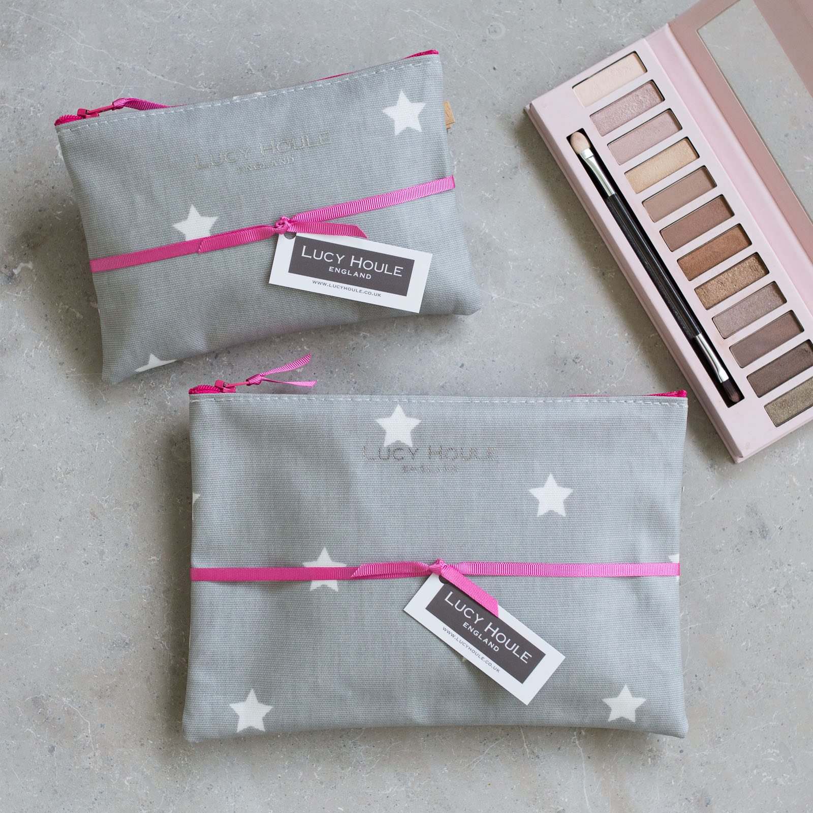 Grey & White Star Make-Up Bag with Pink Zip