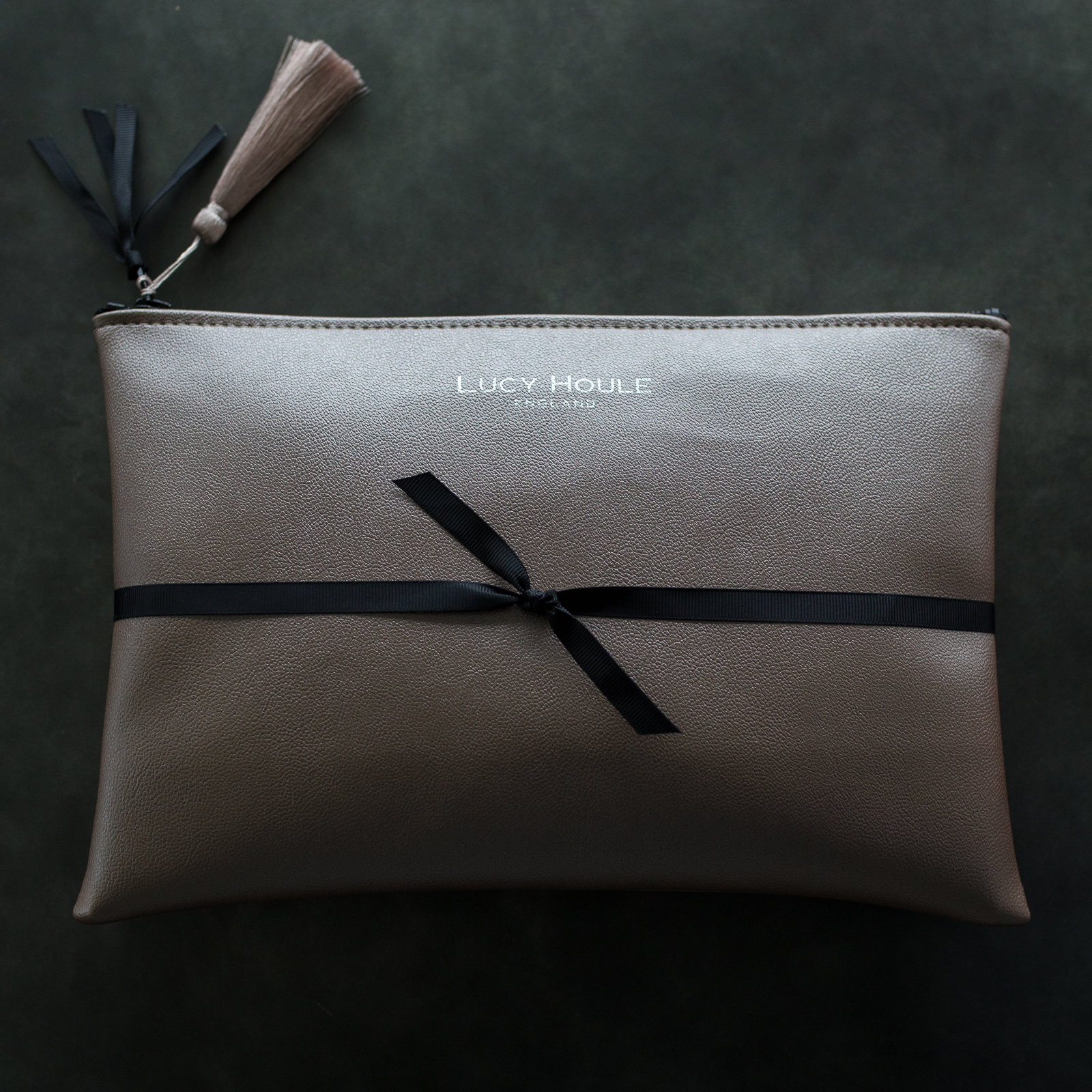 Faux Leather Bronze Clutch with Black Zip