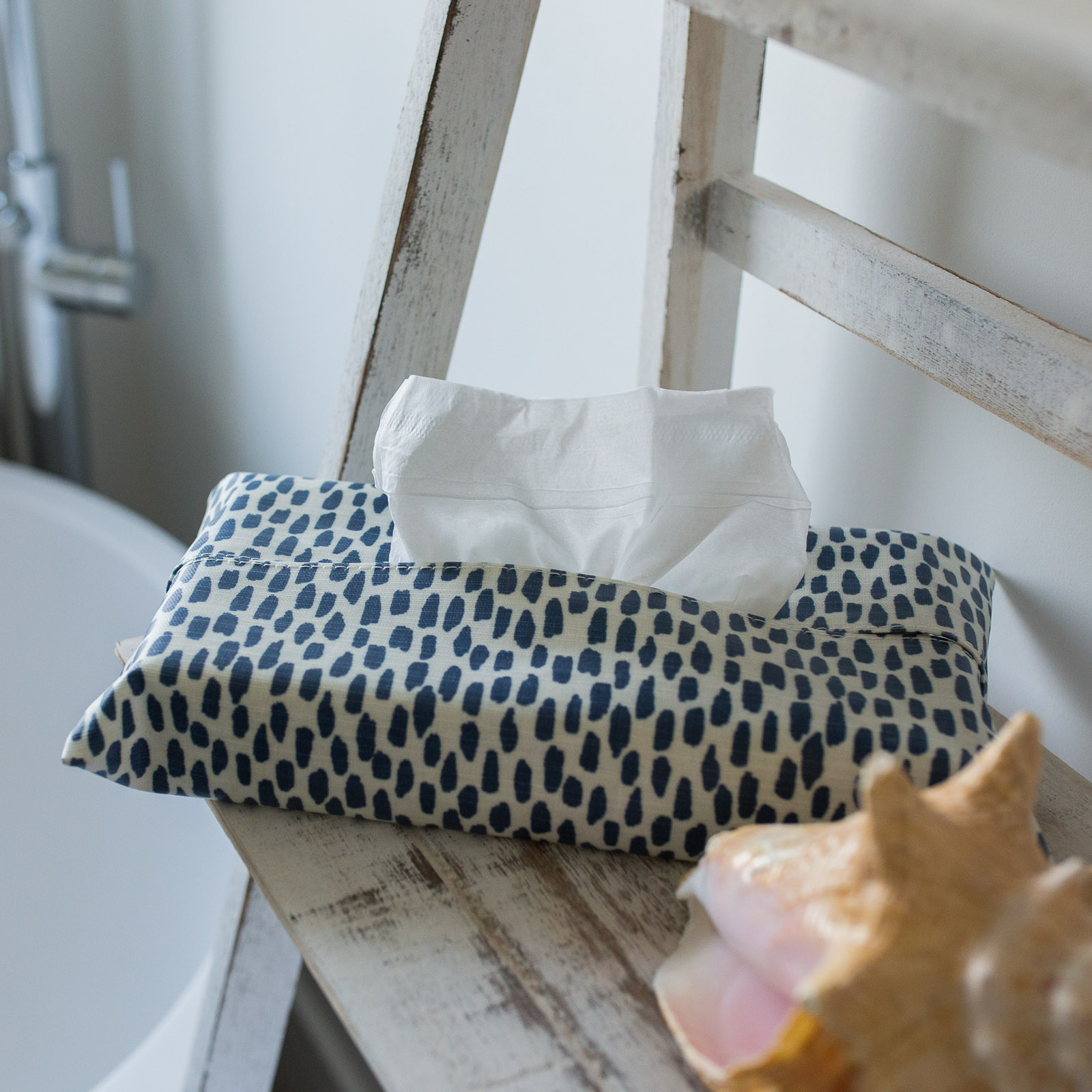 Navy Cobblestone Tissue Box Holder