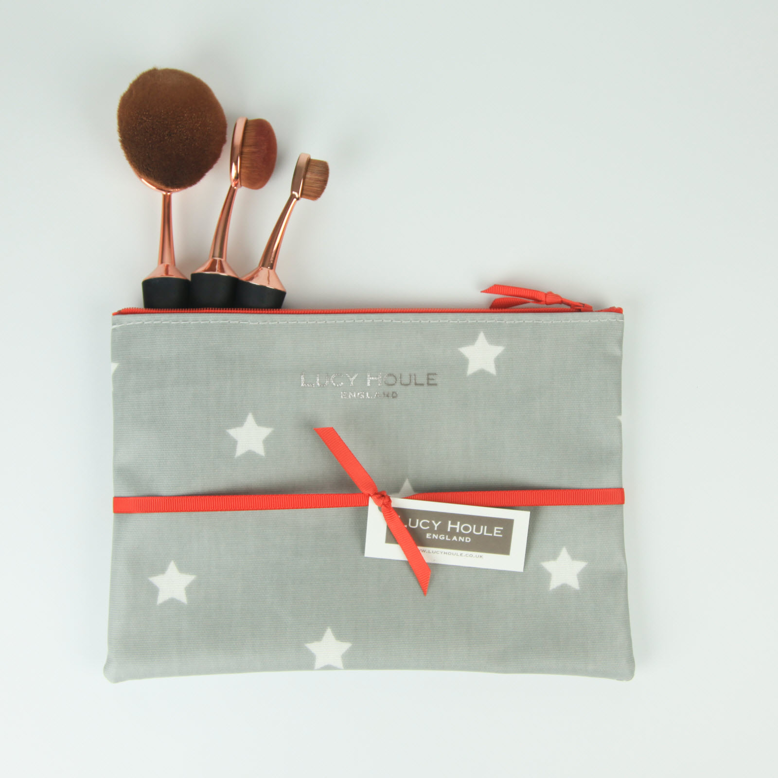 Grey & White Star Make-Up Bag with White Zip