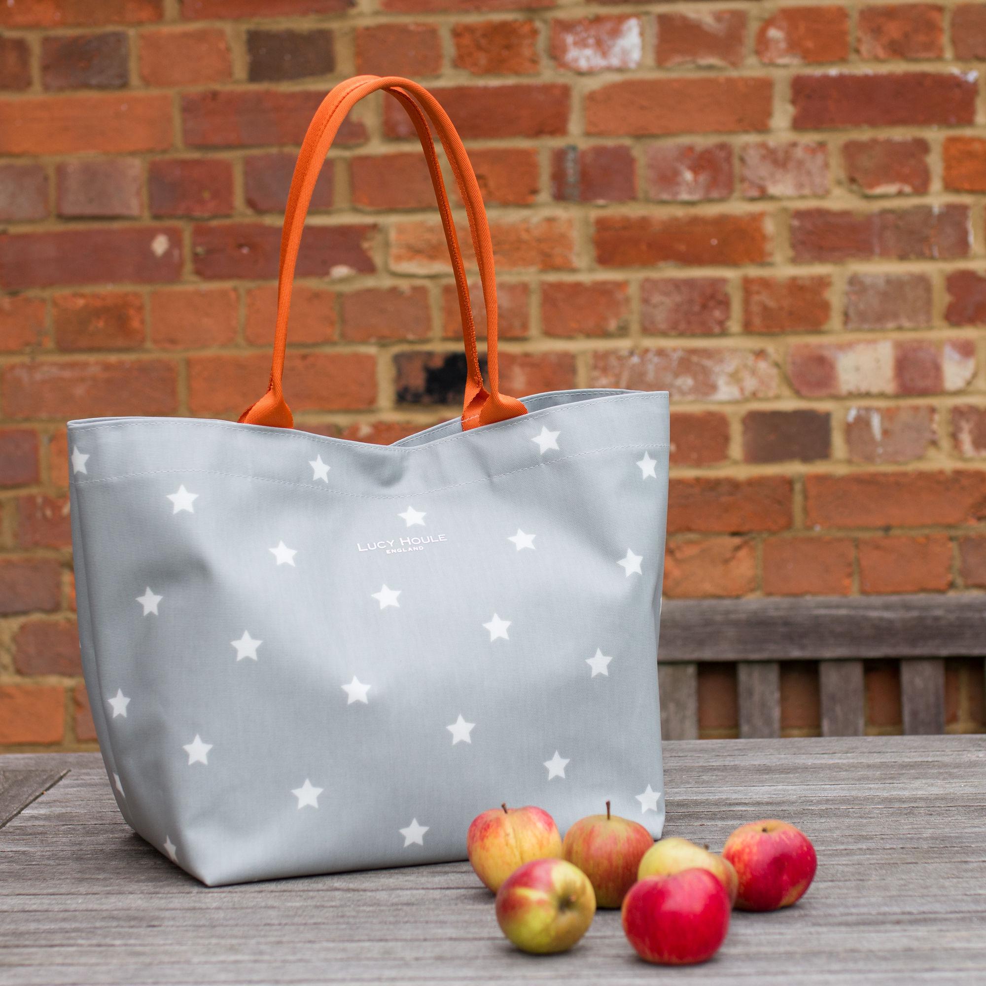 Grey & White Star Medium Tote Bag