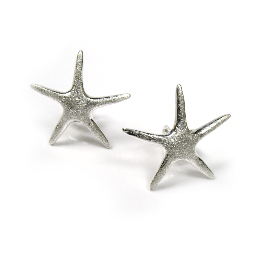 Brushed arty starfish earrings