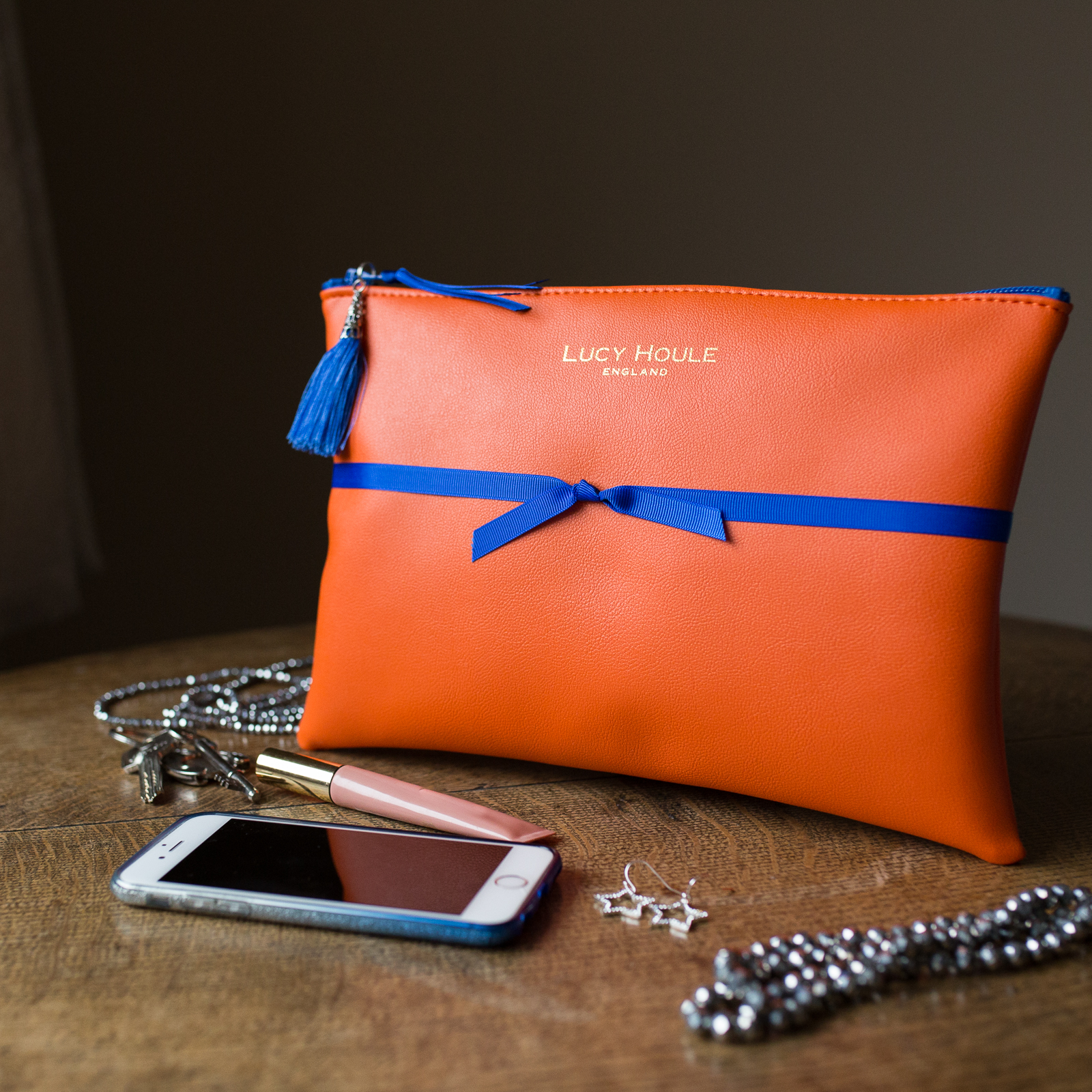 Faux Leather Orange Clutch with Blue Zip