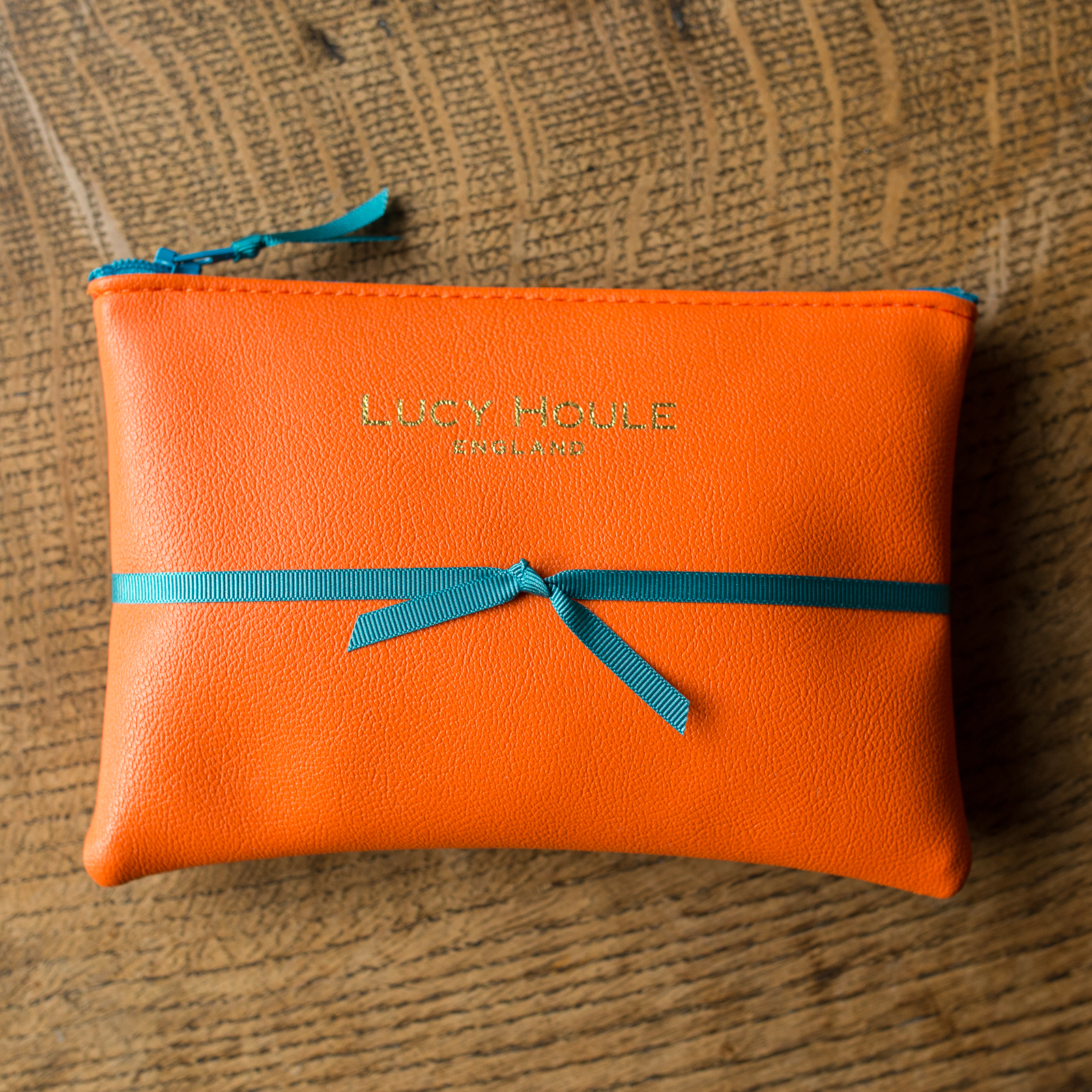 Faux Leather Orange Purse Turquoise Zip