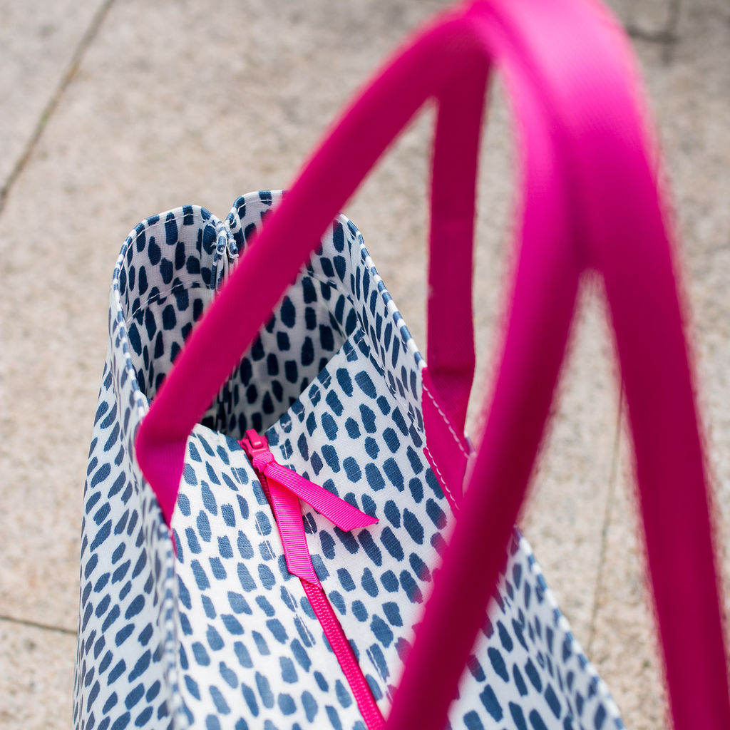 Navy Cobblestone Small Zip Tote Bag with Pink handles