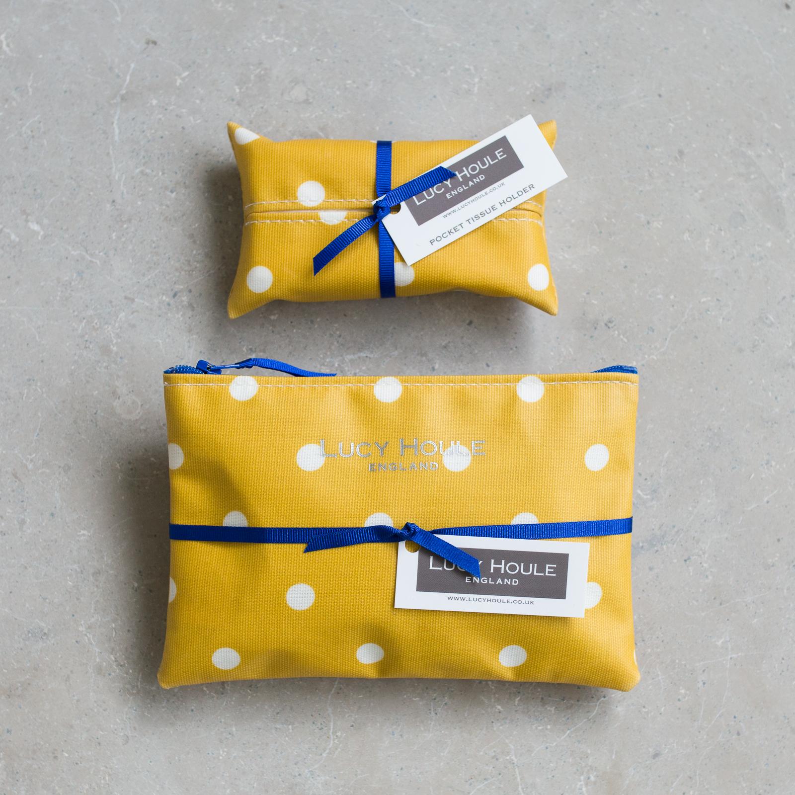 Honey & White Spot Handbag Set Navy Zip