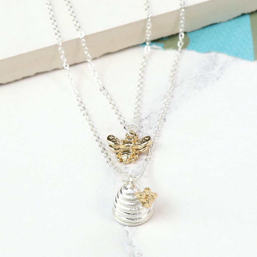 Honey bee & beehive necklace