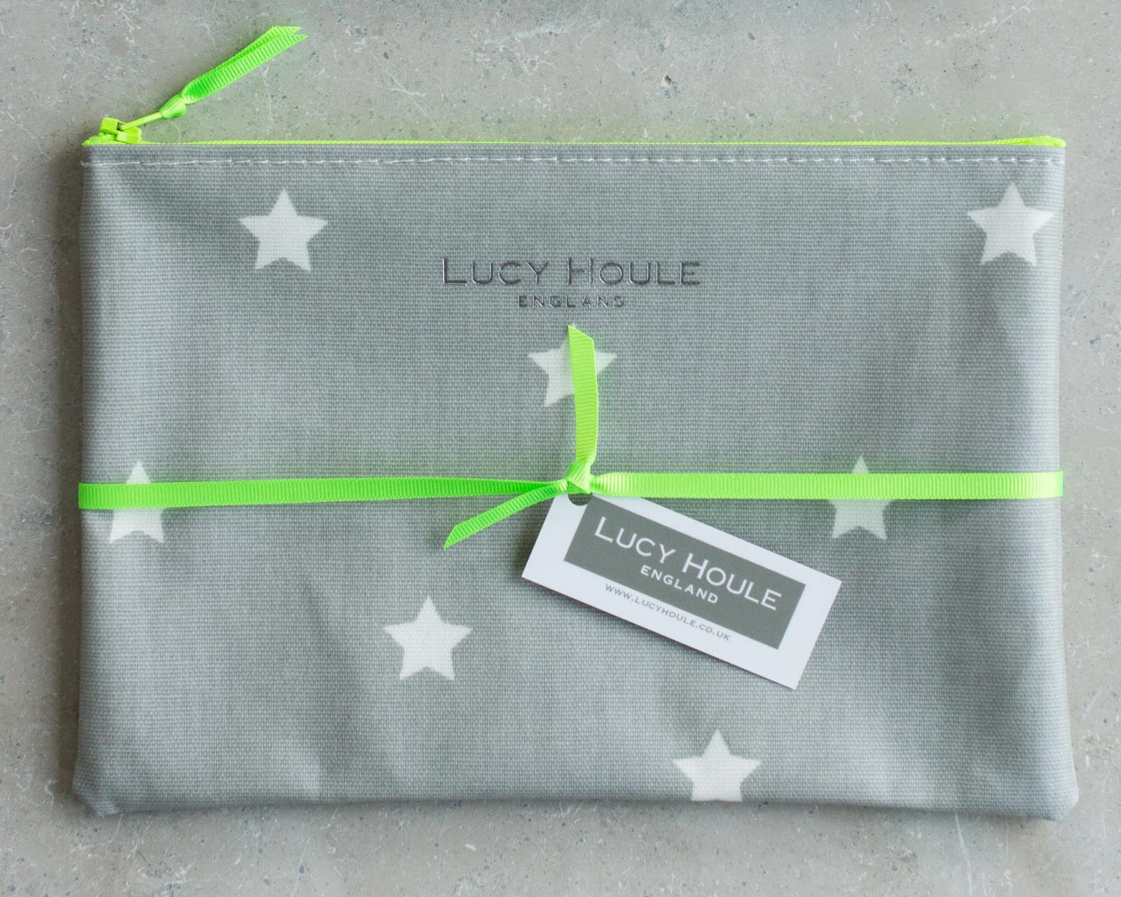 Grey & White Star Make-Up Bag with Green Neon Zip 'Limited Edition'