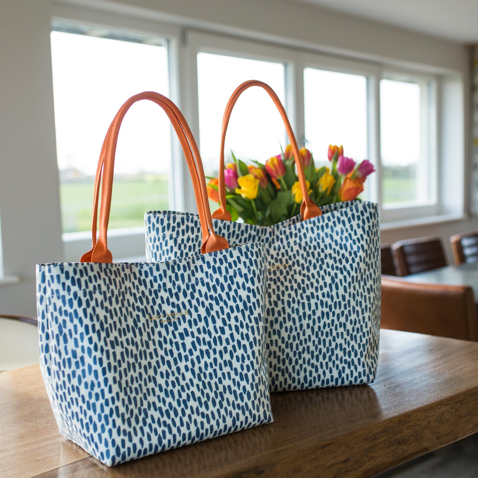 Navy Cobblestone Medium Tote Bag with Orange Handles