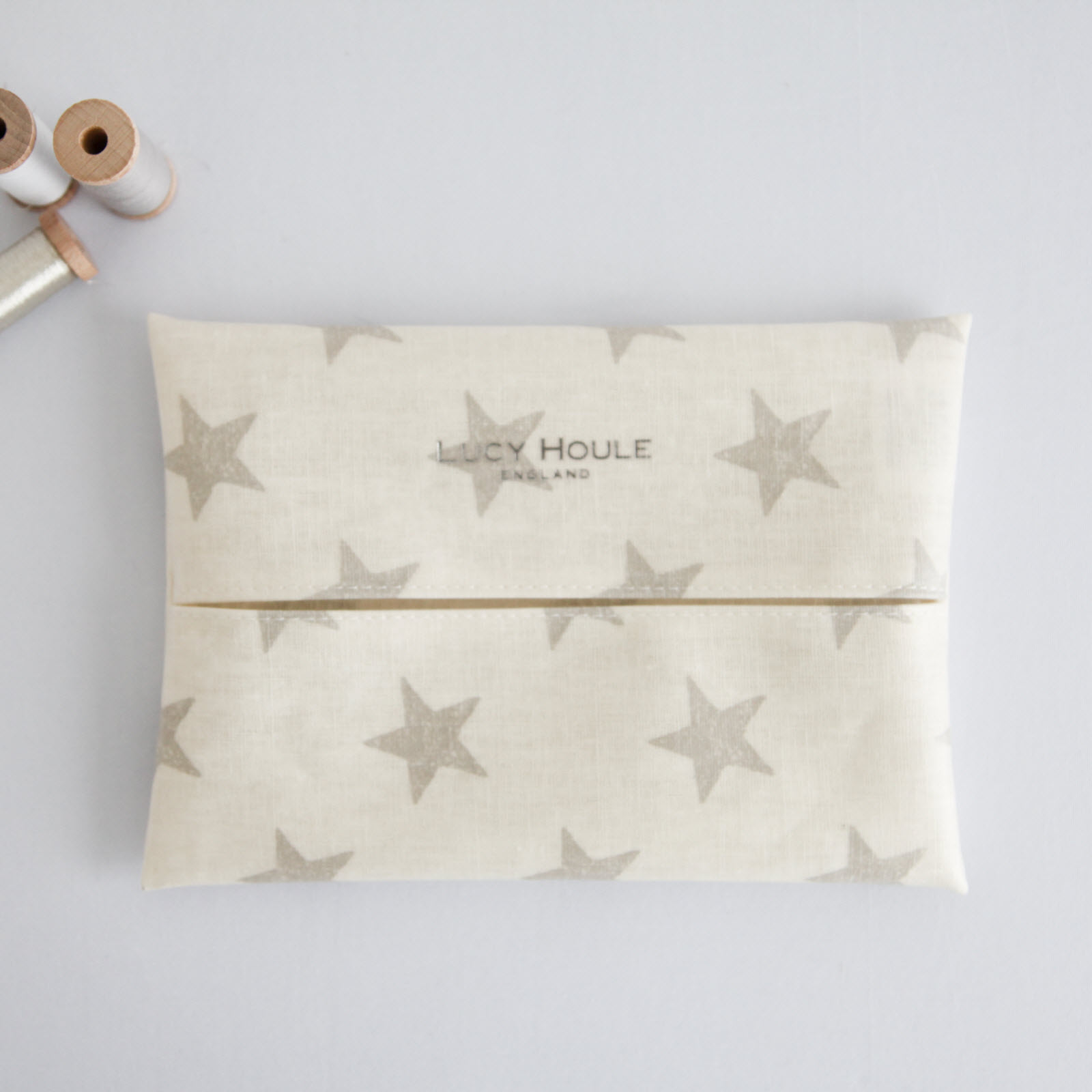 Cream & Grey Star Linen Baby Wipe Holder