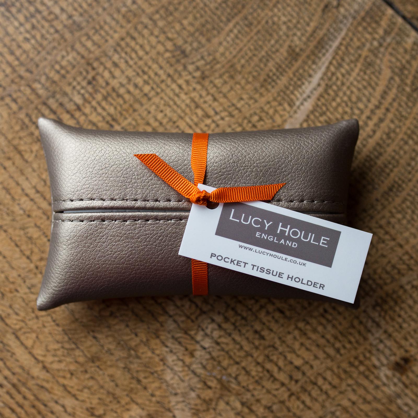 Faux Leather Bronze Pocket Tissue Holder Orange