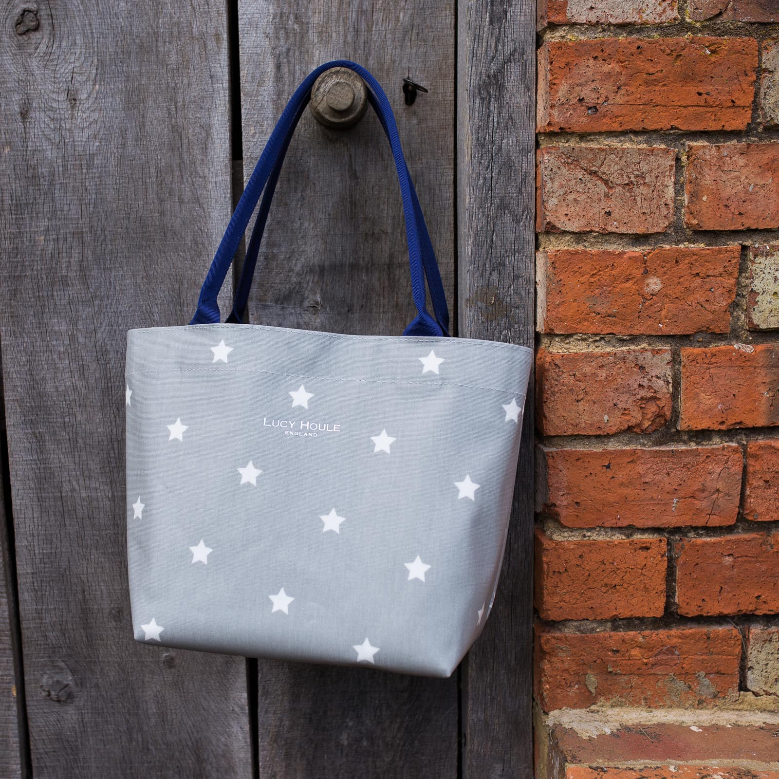 Grey & White Star Small Tote Bag with Navy Handles
