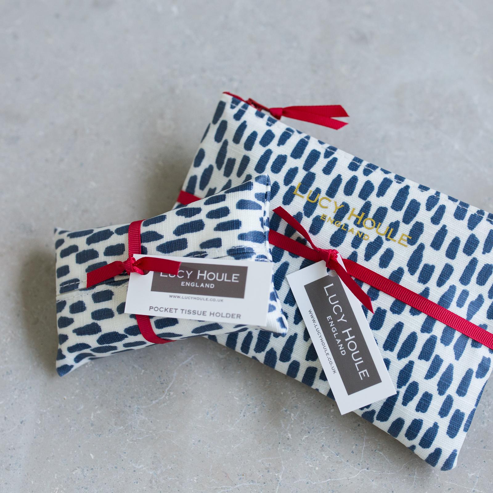 Navy Cobblestone Handbag Set Red Zip
