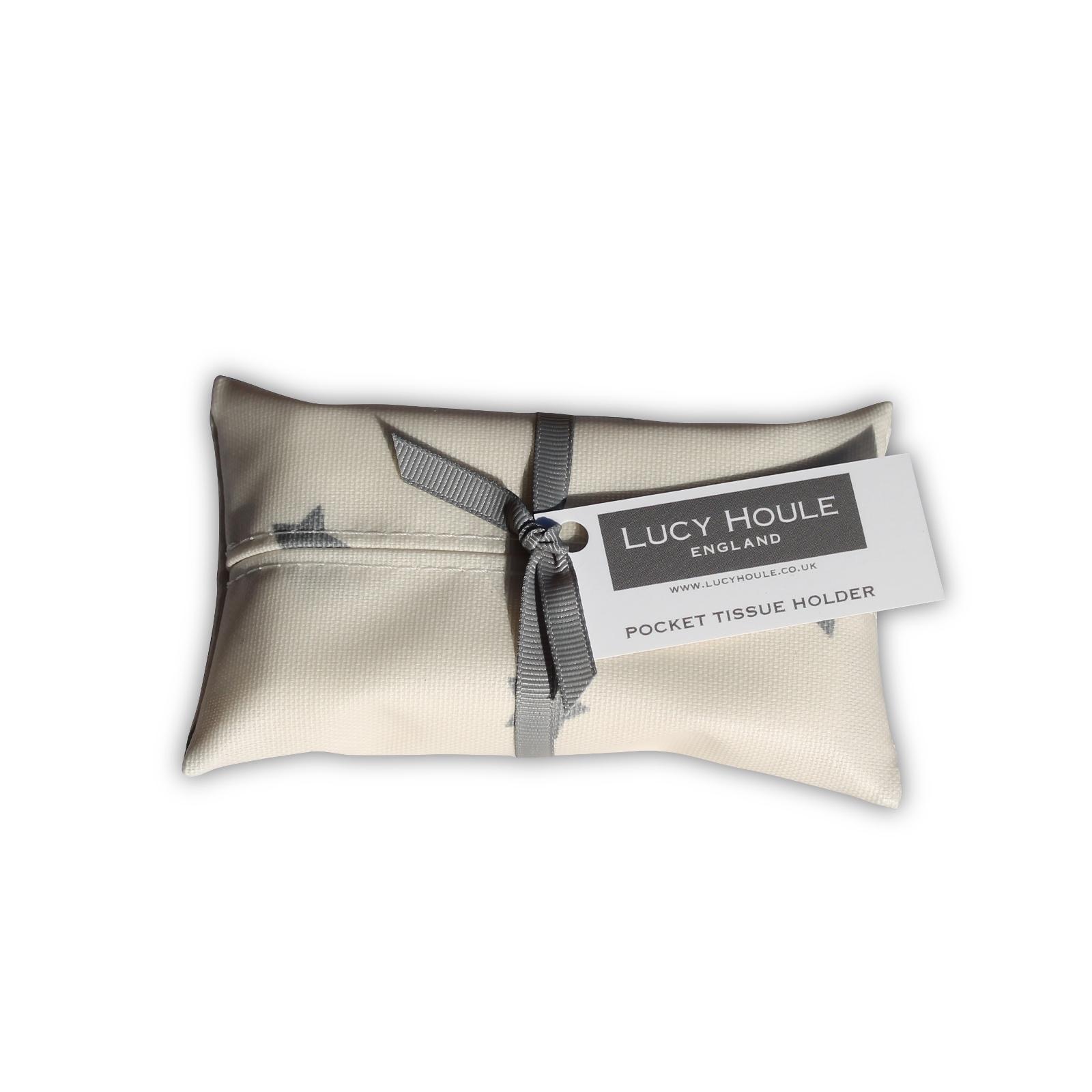 Cream & Grey Small Star Pocket Tissue Holder