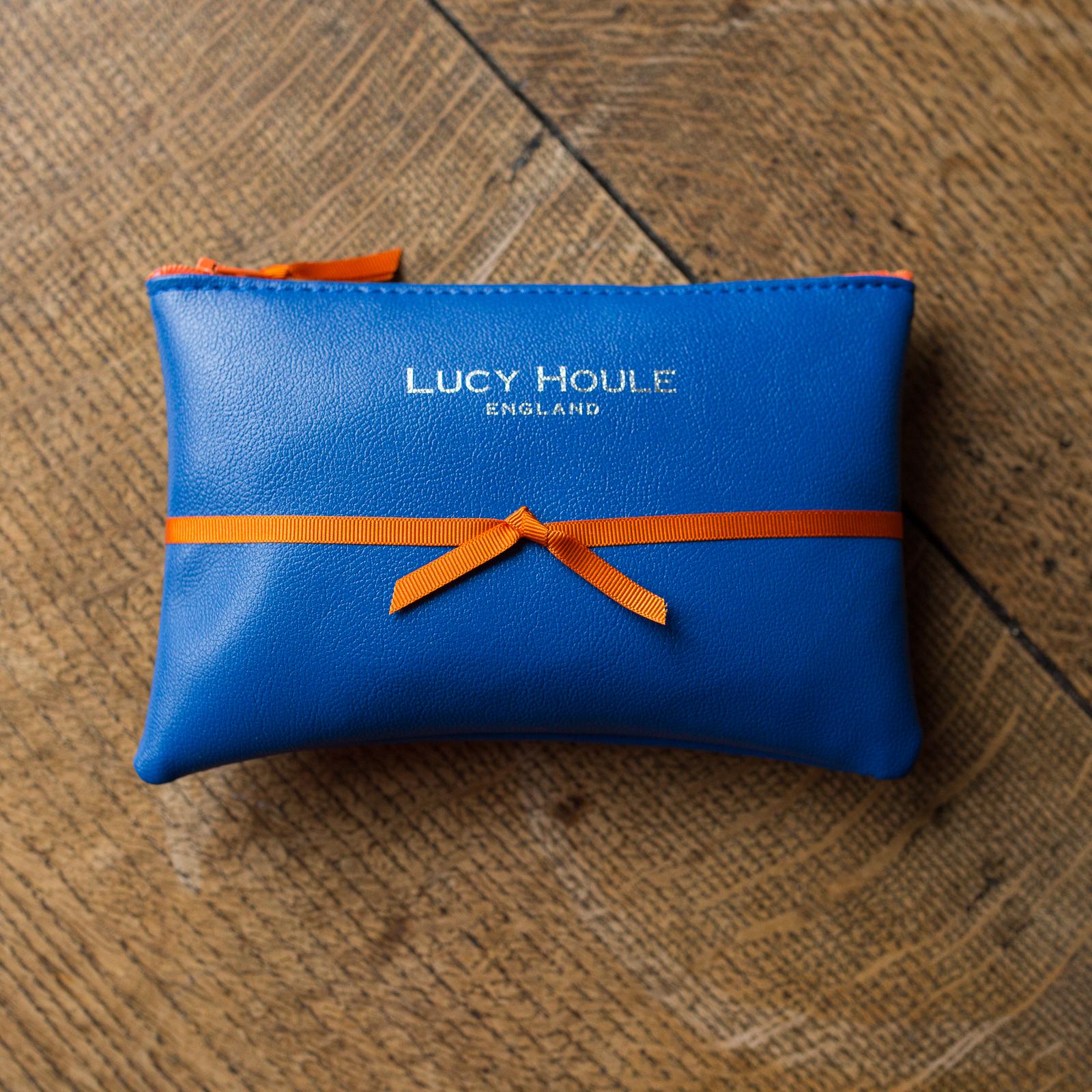 Faux Leather Cobalt Blue Purse Orange Zip
