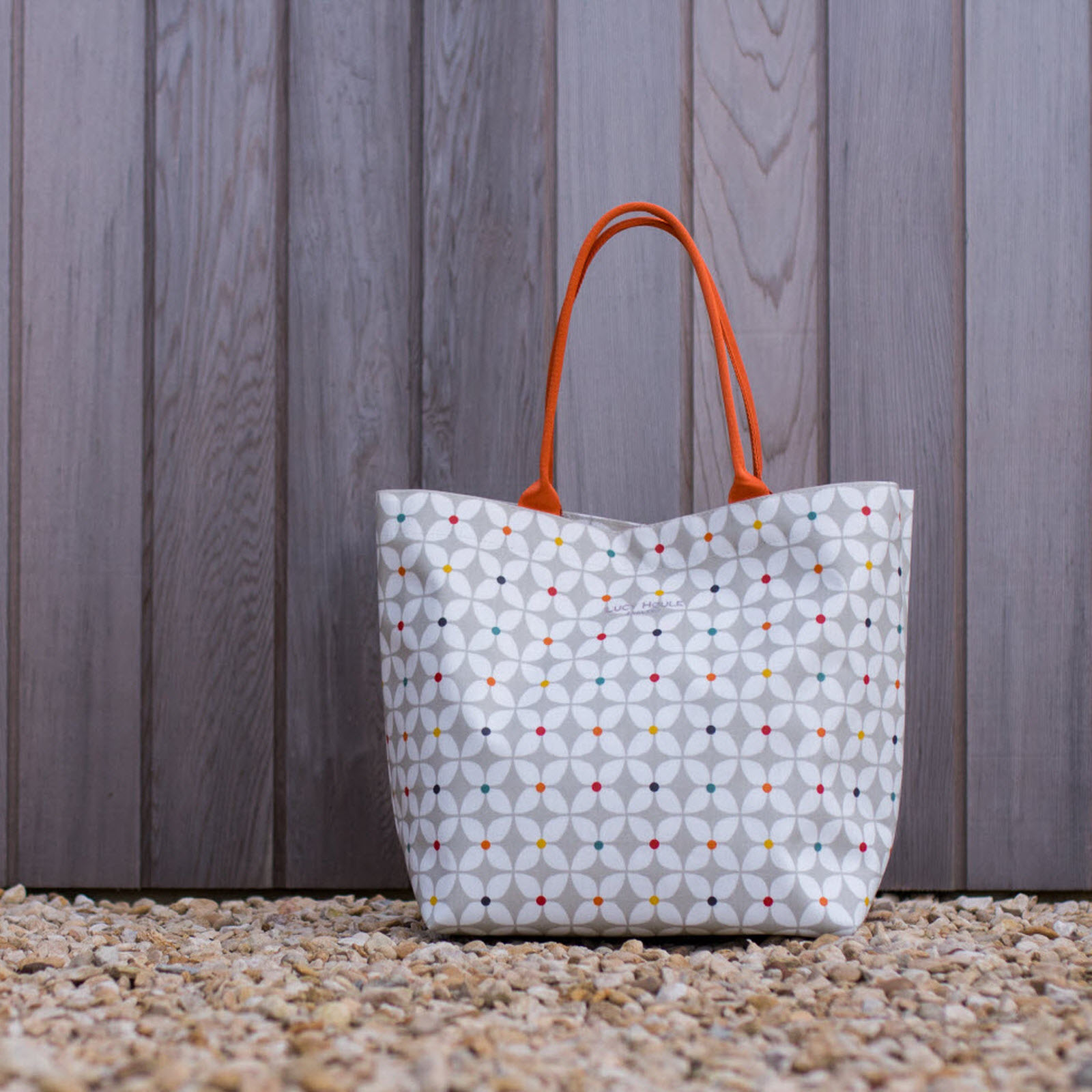 Modern Daisy Taupe Large Tote Bag with Orange Handles