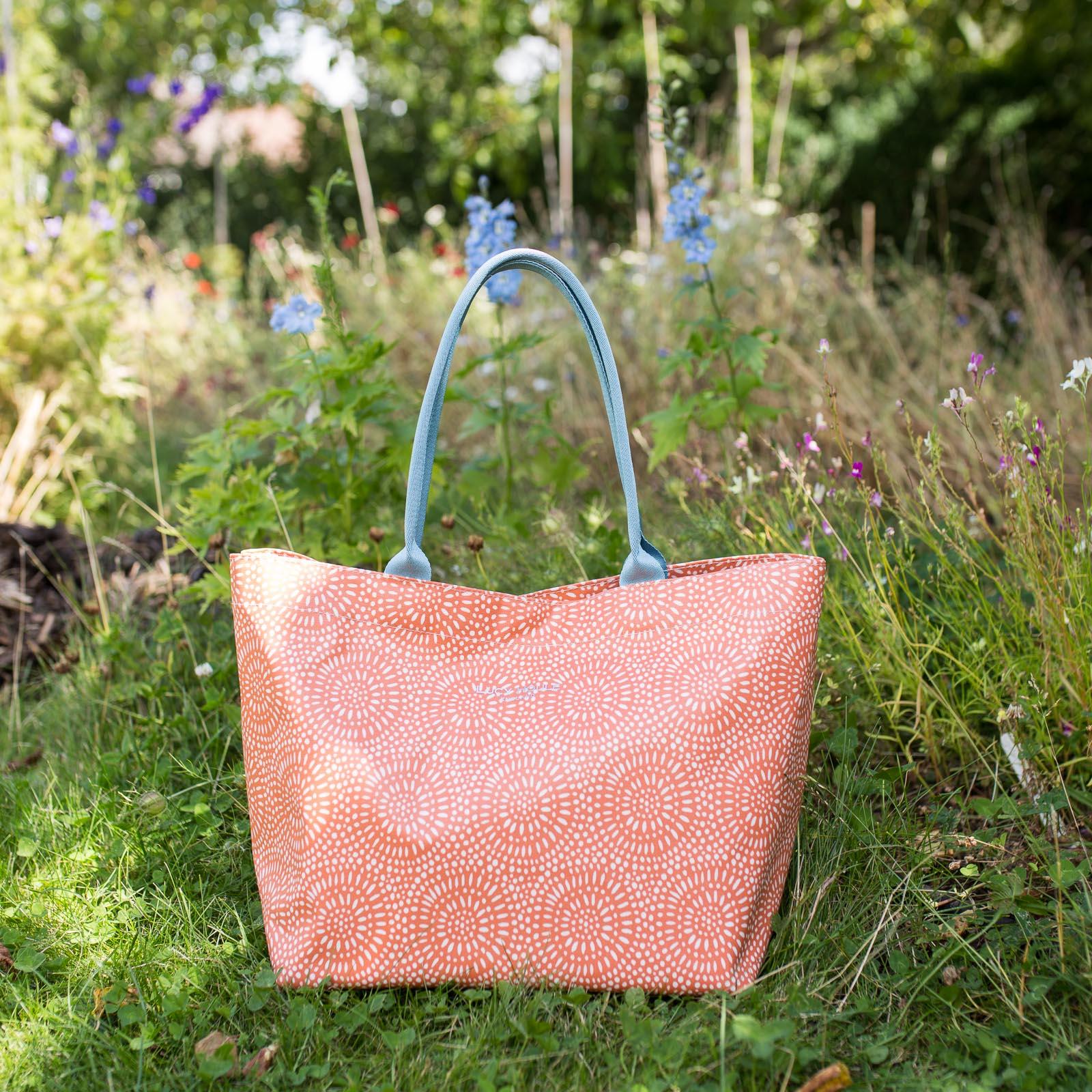 Amber Sunburst Medium Tote Bag with Aqua Handles