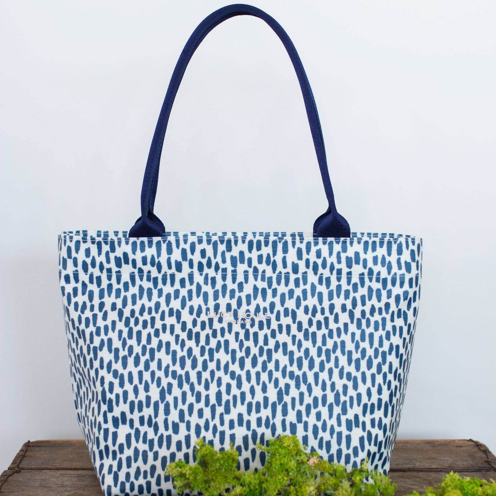 Navy Cobblestone Small Tote Bag with Navy Handles