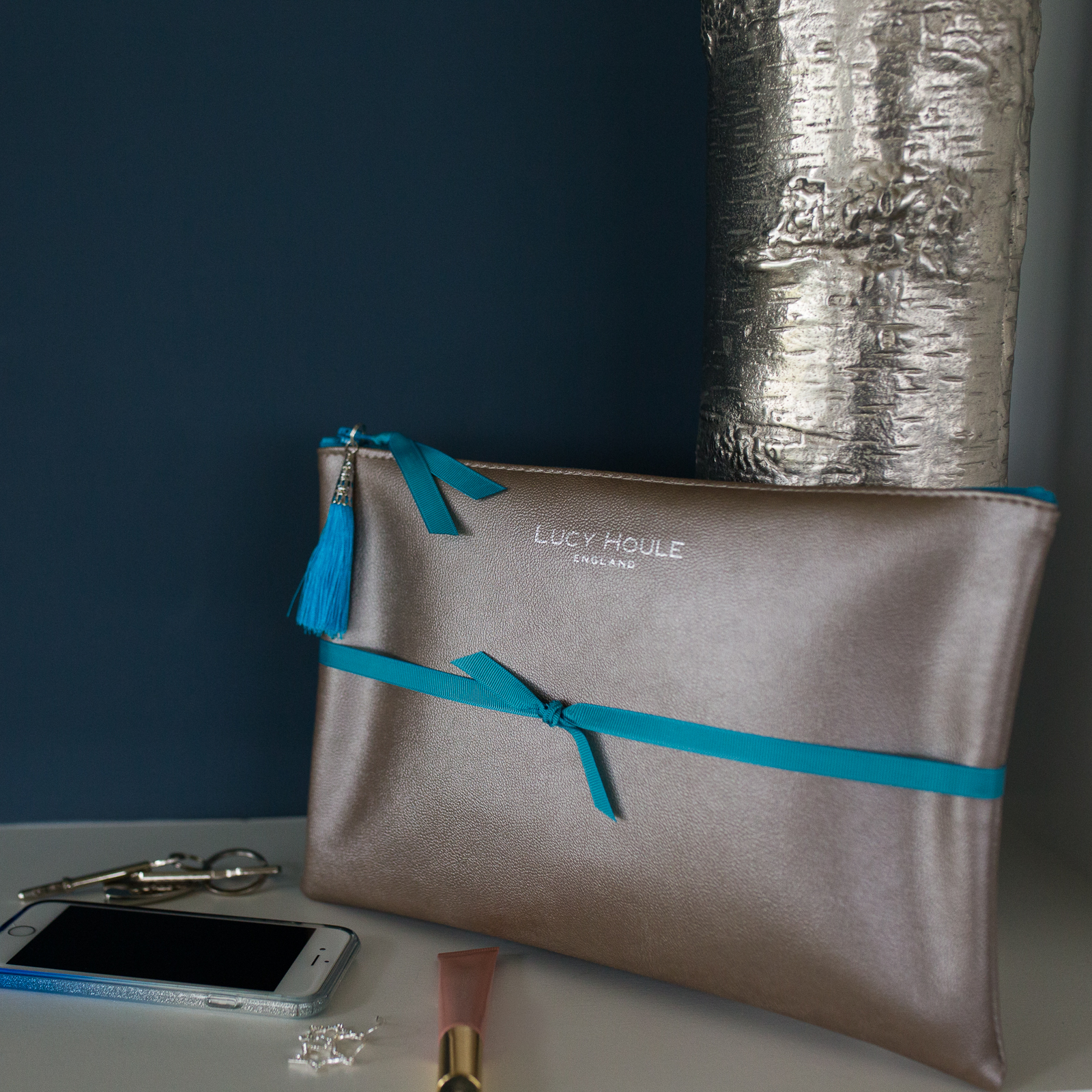 Faux Leather Bronze Clutch with Turquoise Tassel