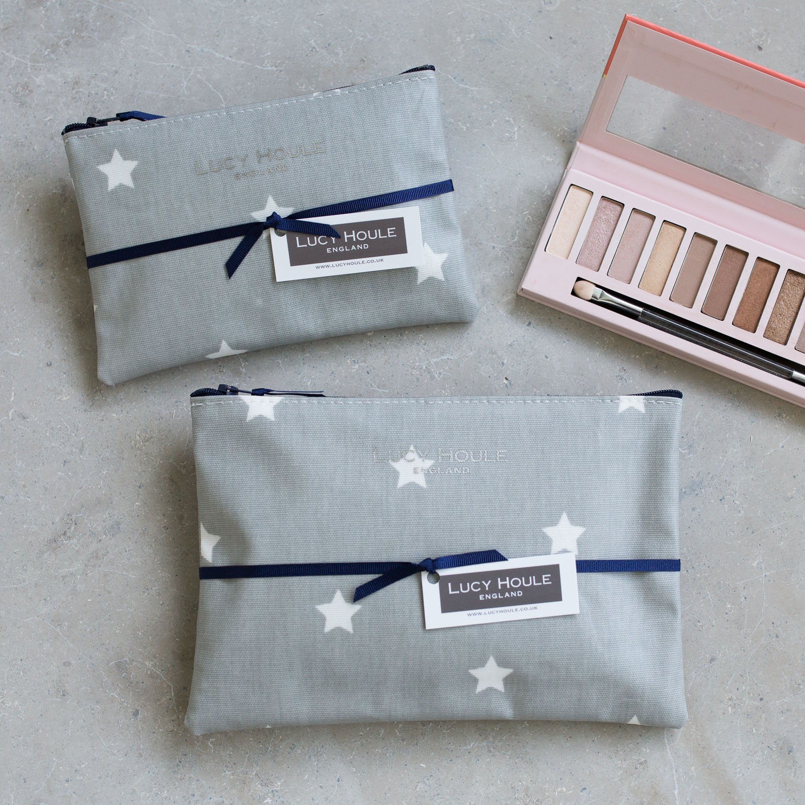 Grey & White Star Make-Up Bag with Navy Zip