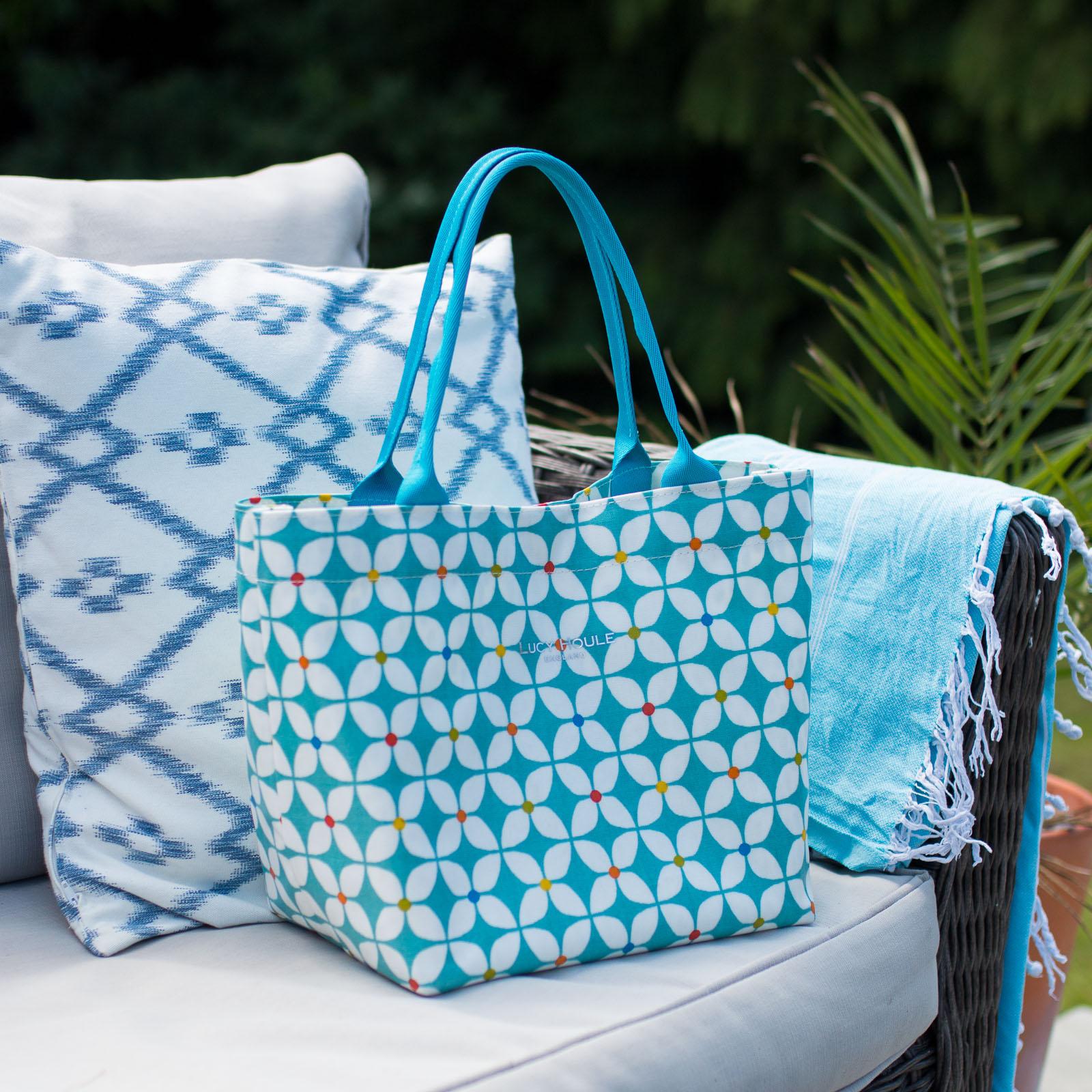 Modern Daisy Aqua Small Grab Bag with Aqua Handles