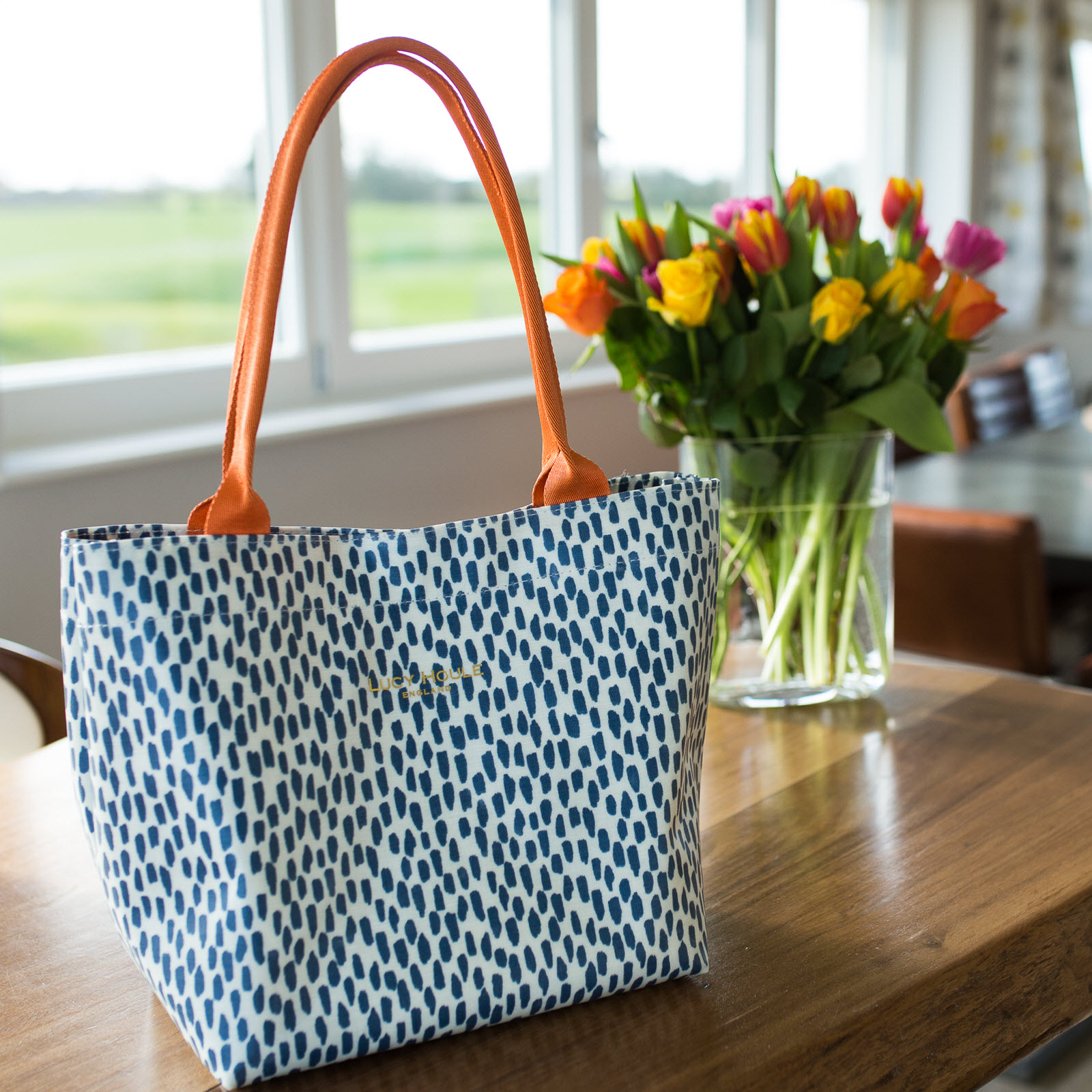 Navy Cobblestone Small Tote Bag with Orange Handles