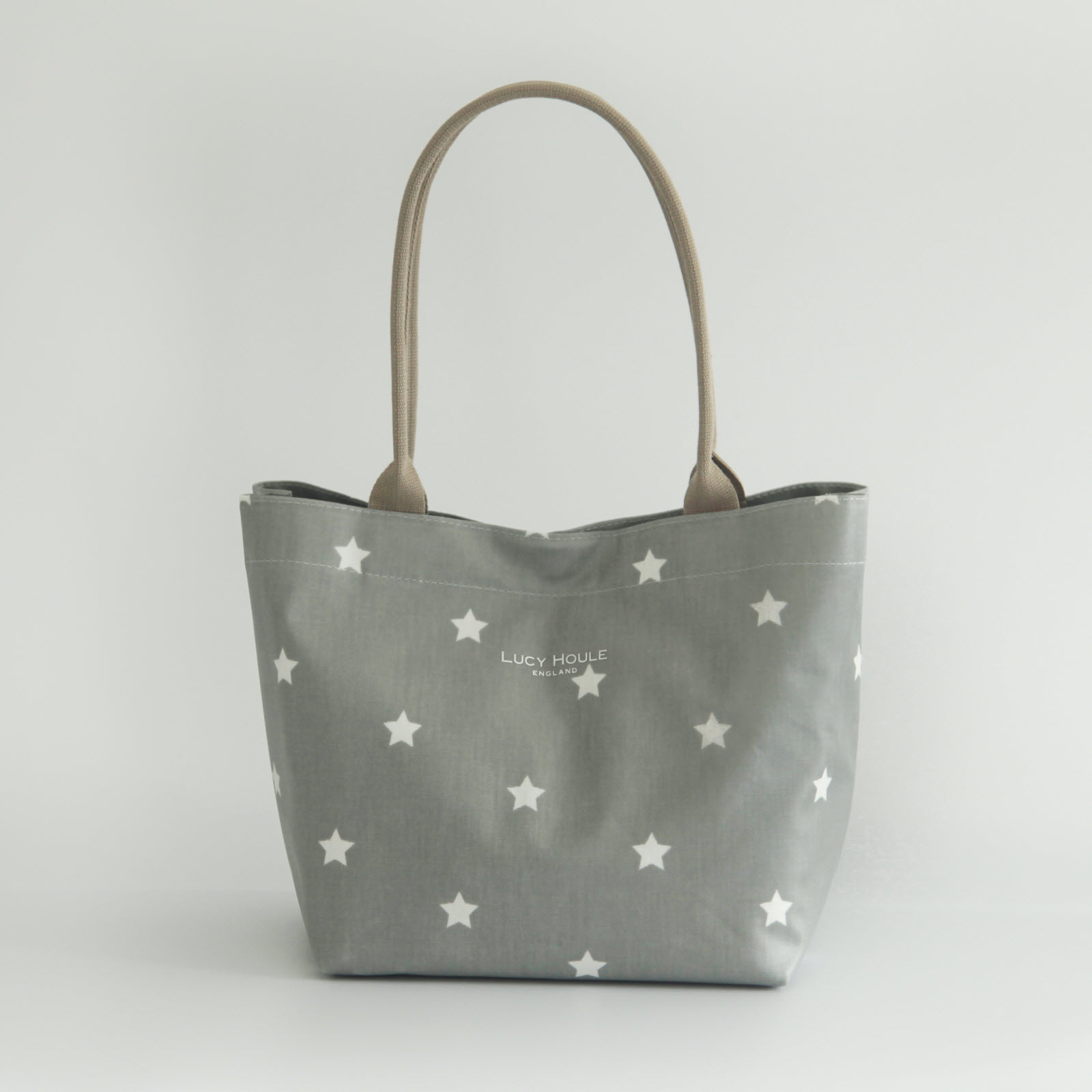 Grey & White Star Small Tote Bag with Taupe Handles