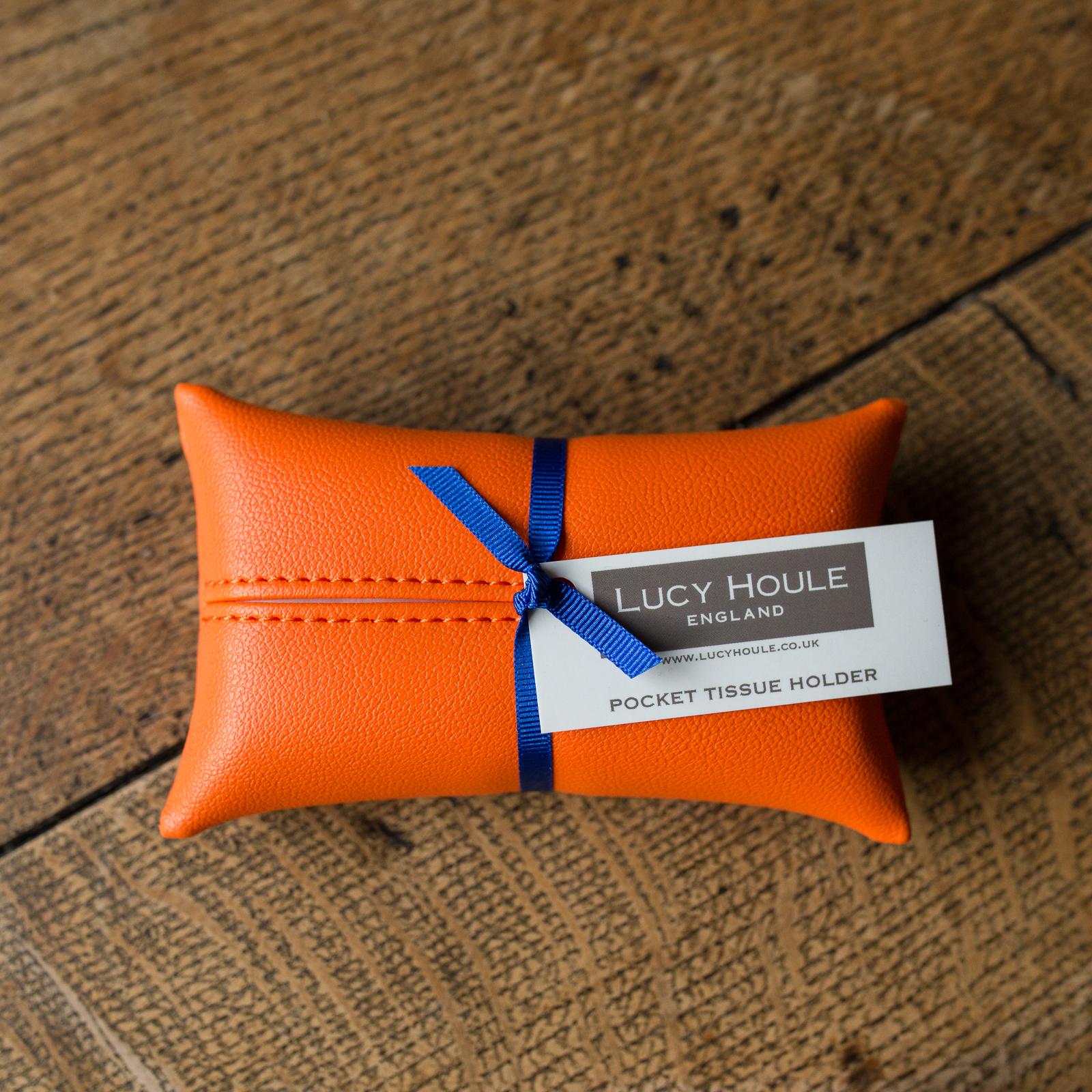 Faux Leather Orange Pocket Tissue Holder Cobalt Blue