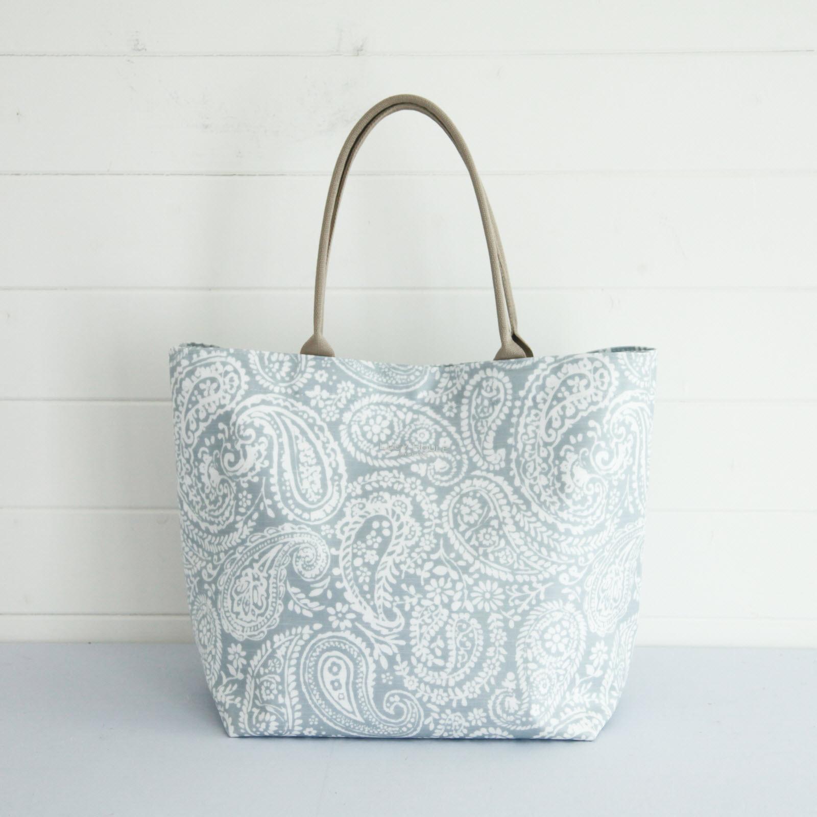 Grey Paisley Large Tote Bag