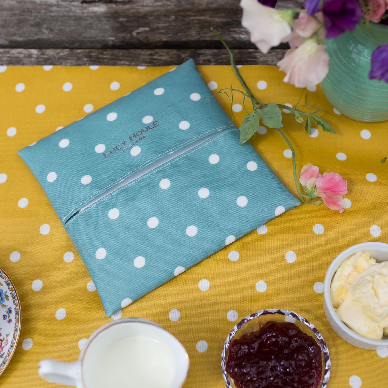 Duck Egg Blue Spot Paper Napkin Holder