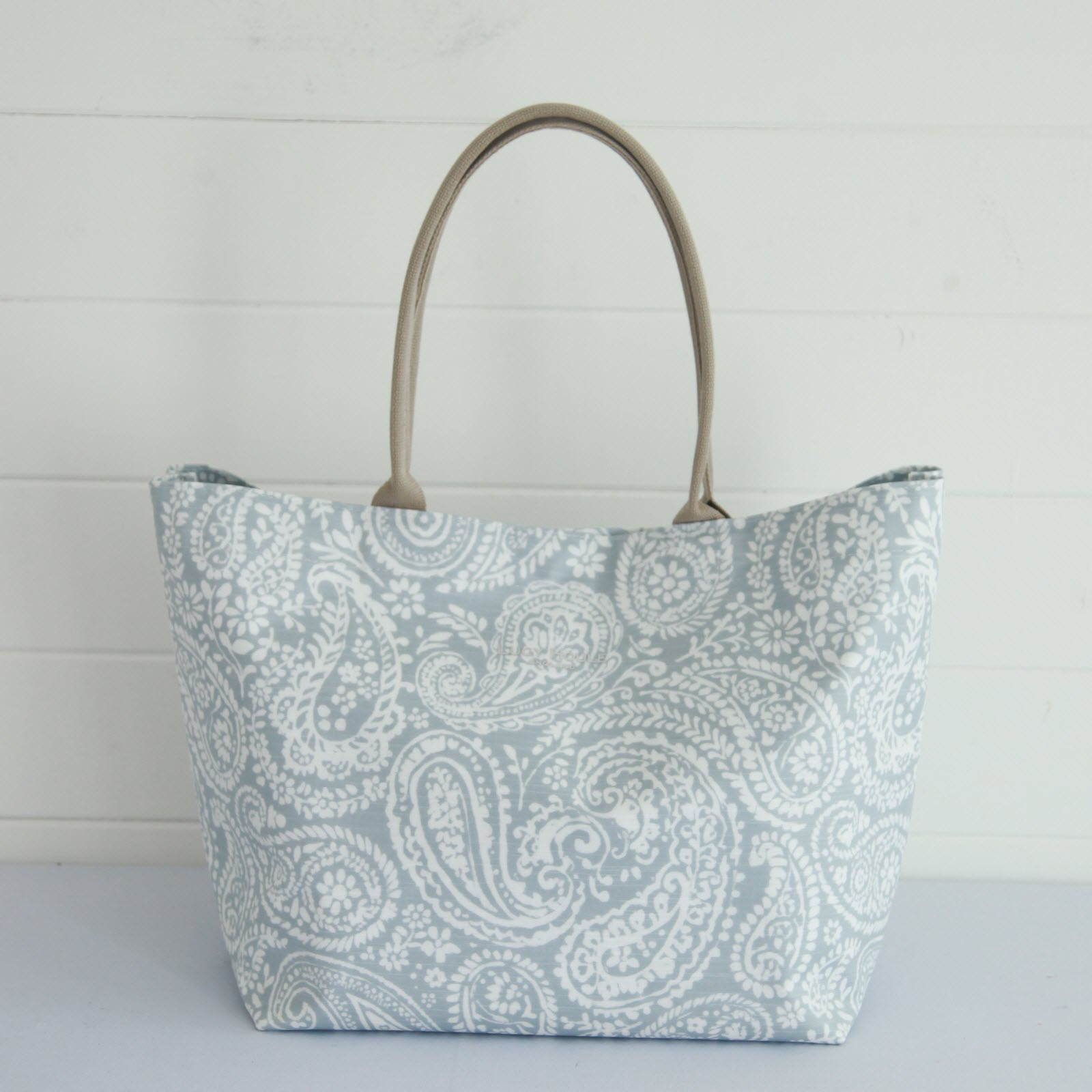 Grey Paisley Small Zip Tote Bag with Taupe Handles