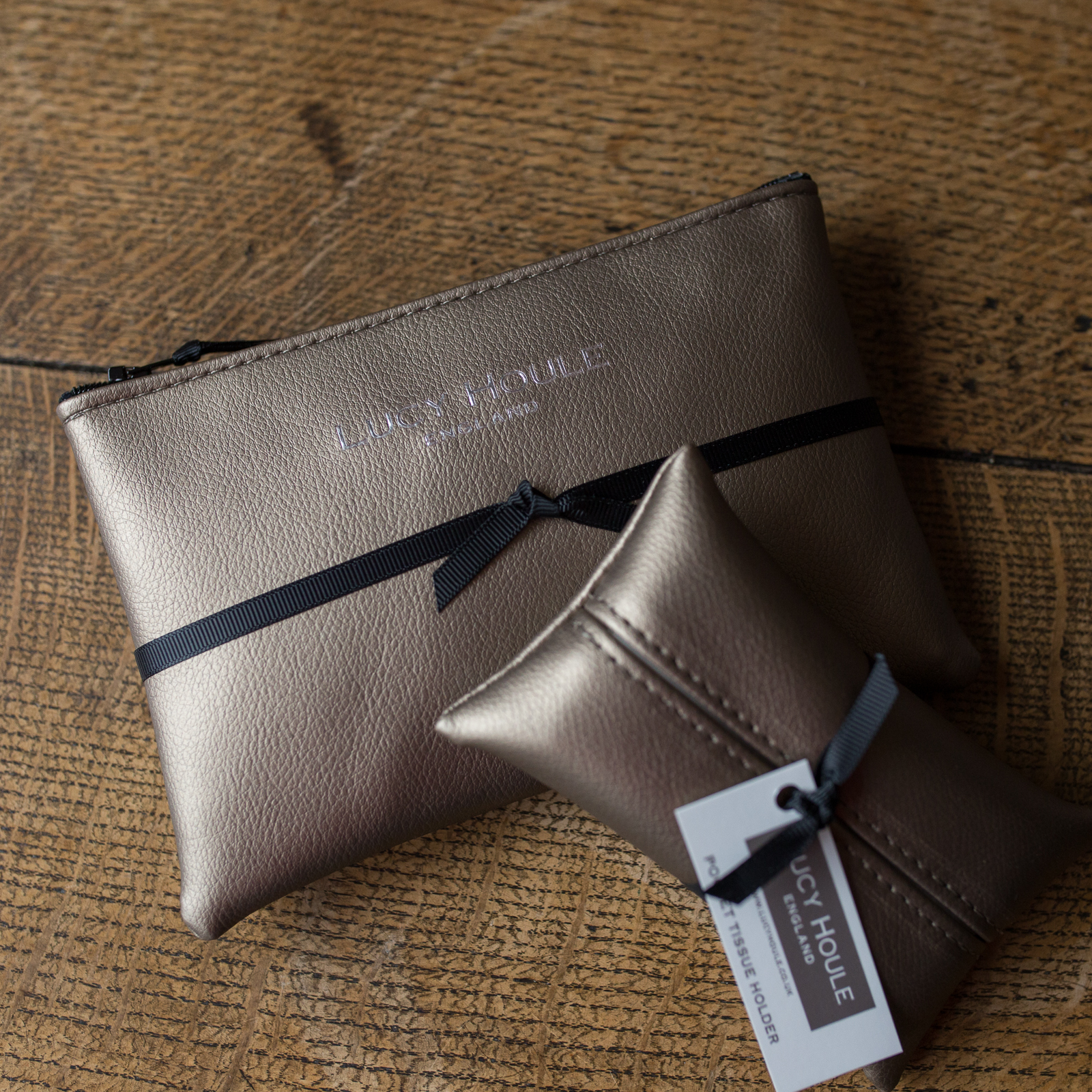 Faux Leather Bronze Handbag Set Black Zip