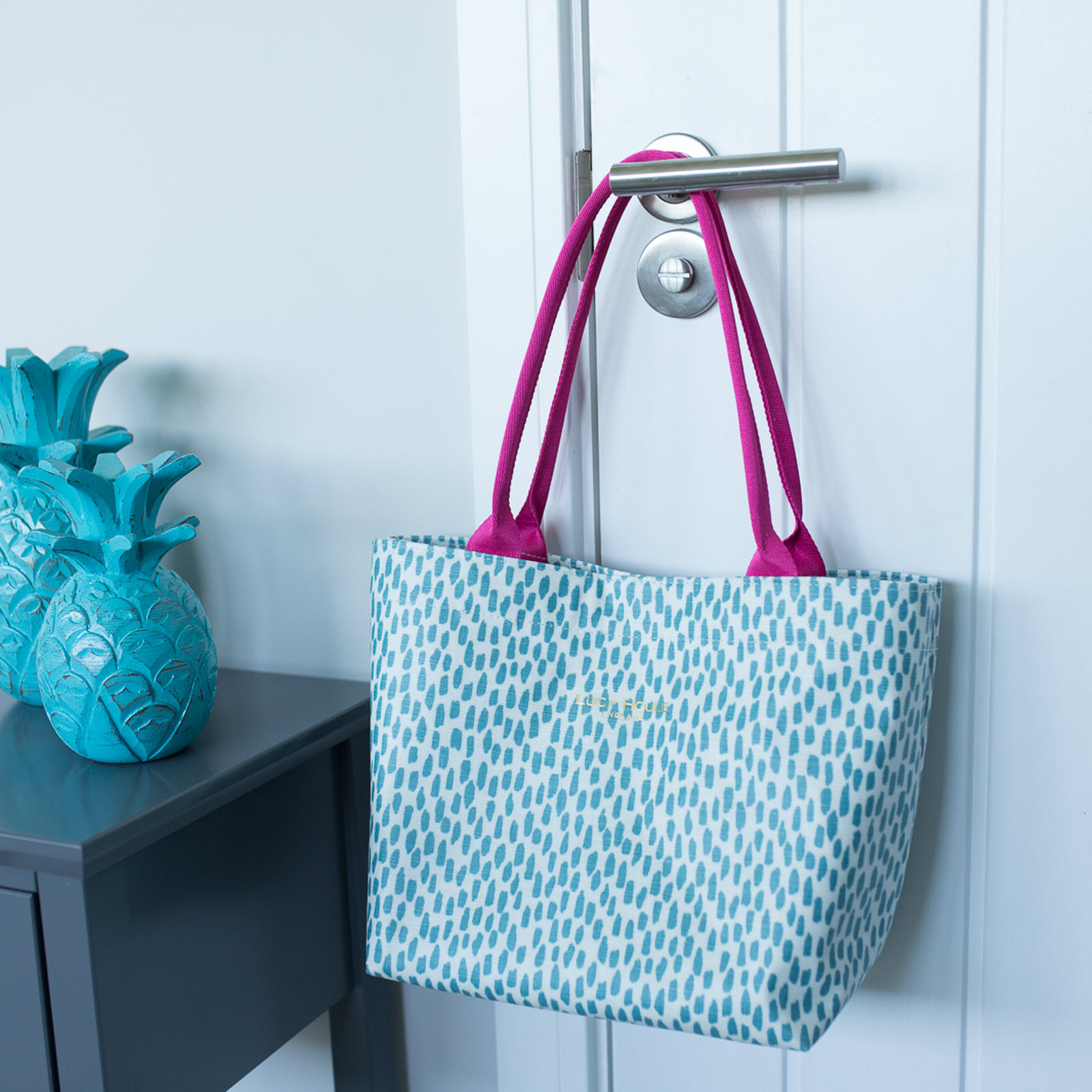 Aqua Cobblestone Small Tote Bag with Hot Pink Handles 'Limited Edition'