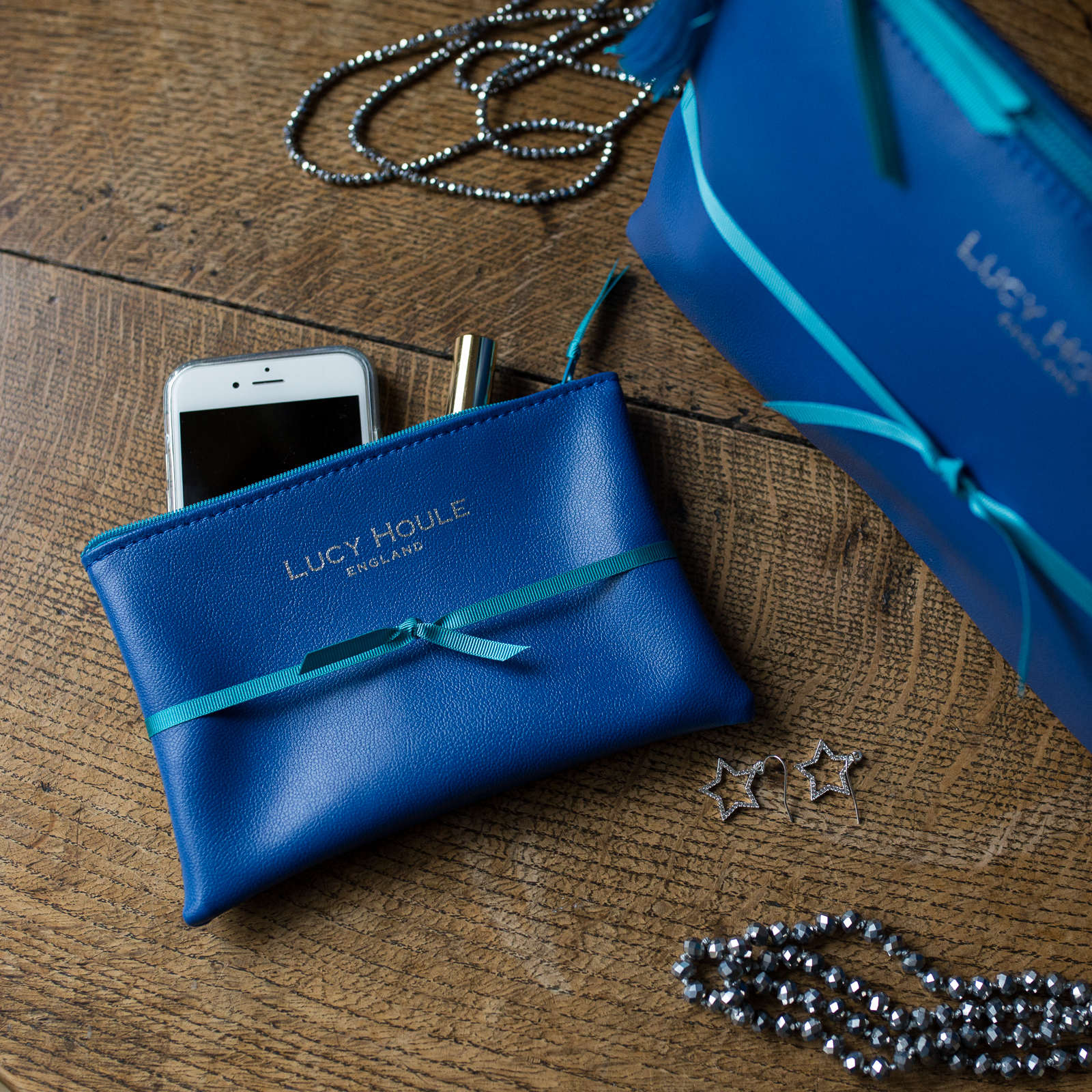 Faux Leather Cobalt Blue Clutch with Turquoise Zip