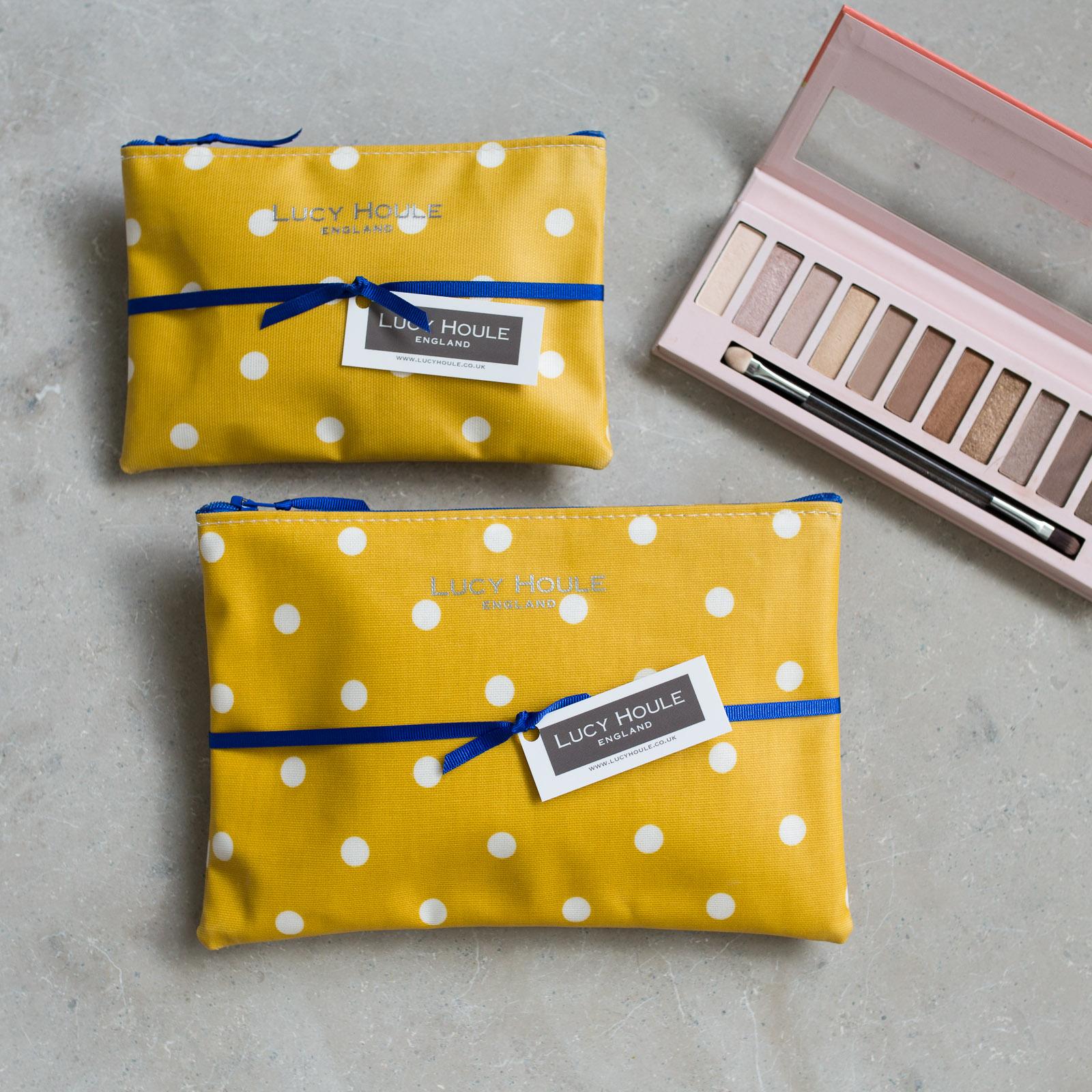 Honey & White Spot Make-Up Bag with Cobalt Blue Zip