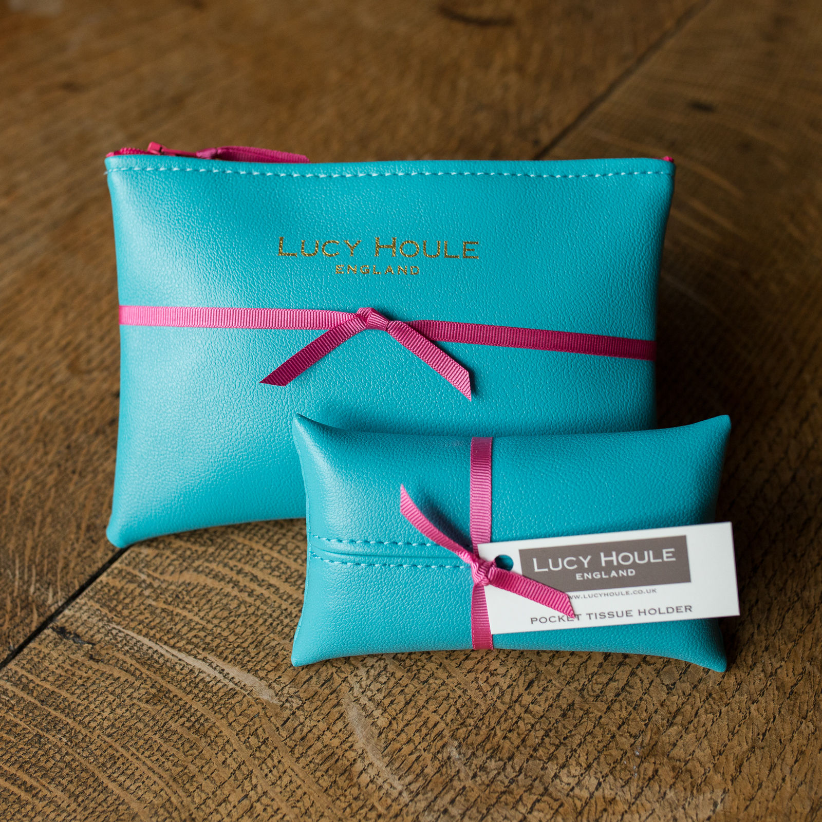 Faux Leather Turquoise Handbag Set