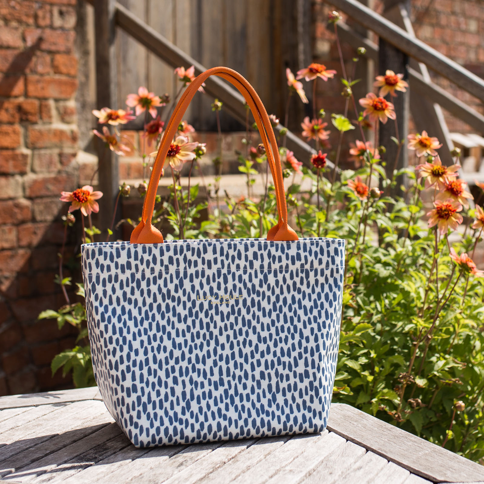 Navy Cobblestone Small Zip Tote Bag with Orange Handles