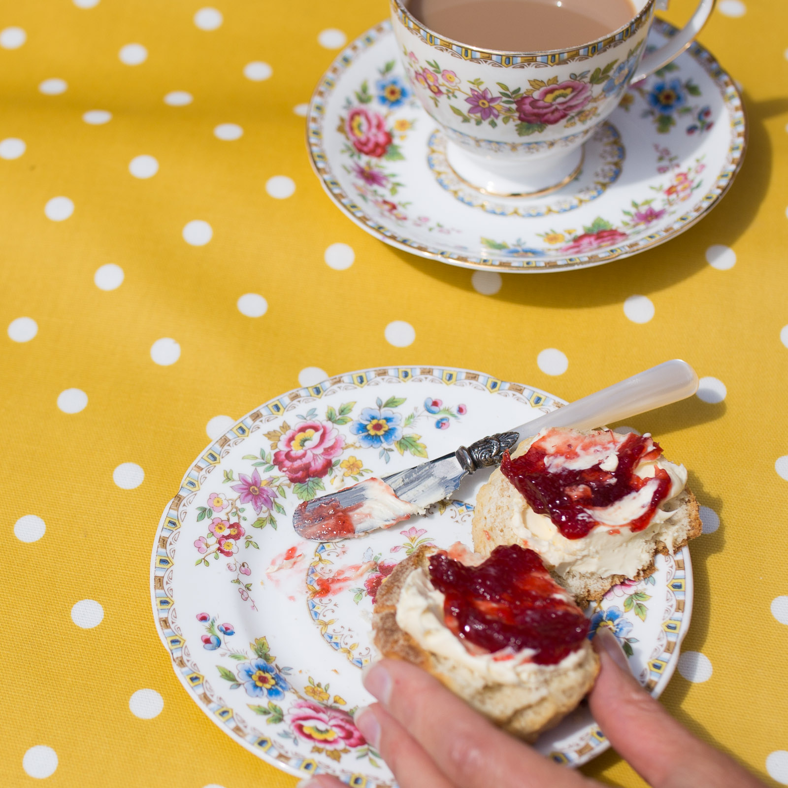 Honey & White Spot Oilcloth by the metre