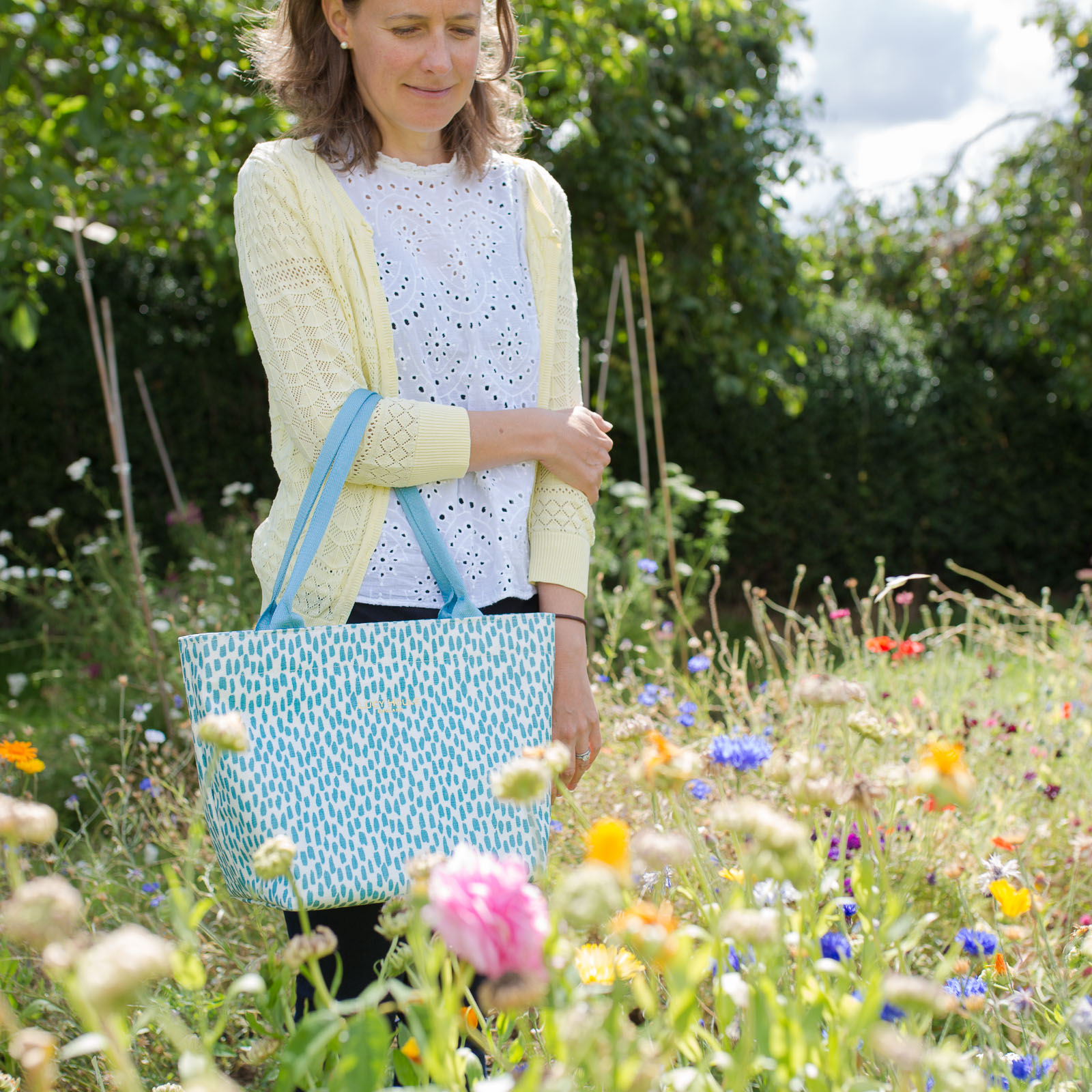Aqua Cobblestone Small Tote Bag