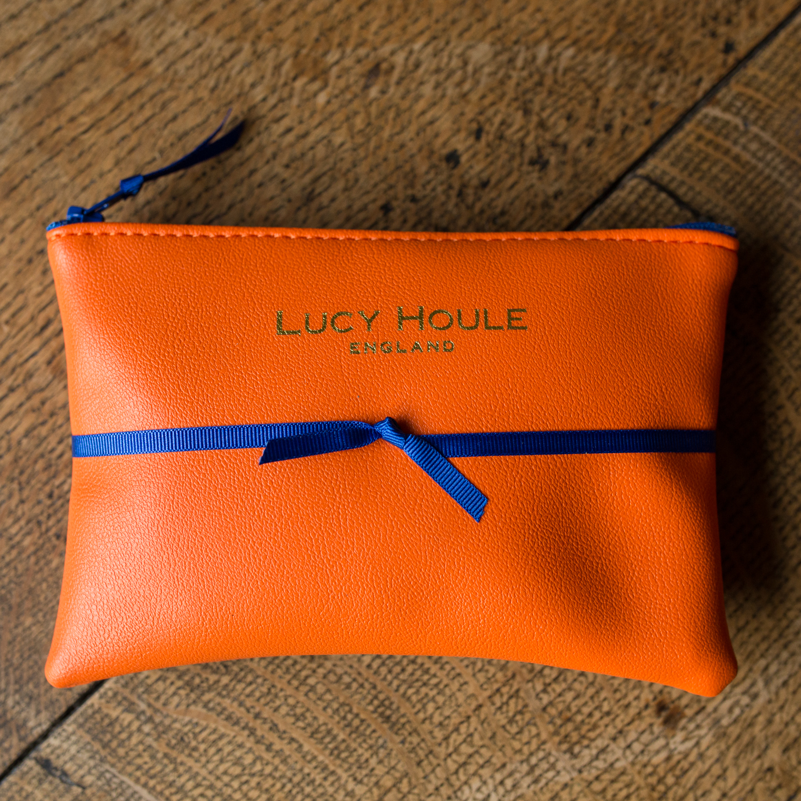 Faux Leather Orange Purse Blue Zip