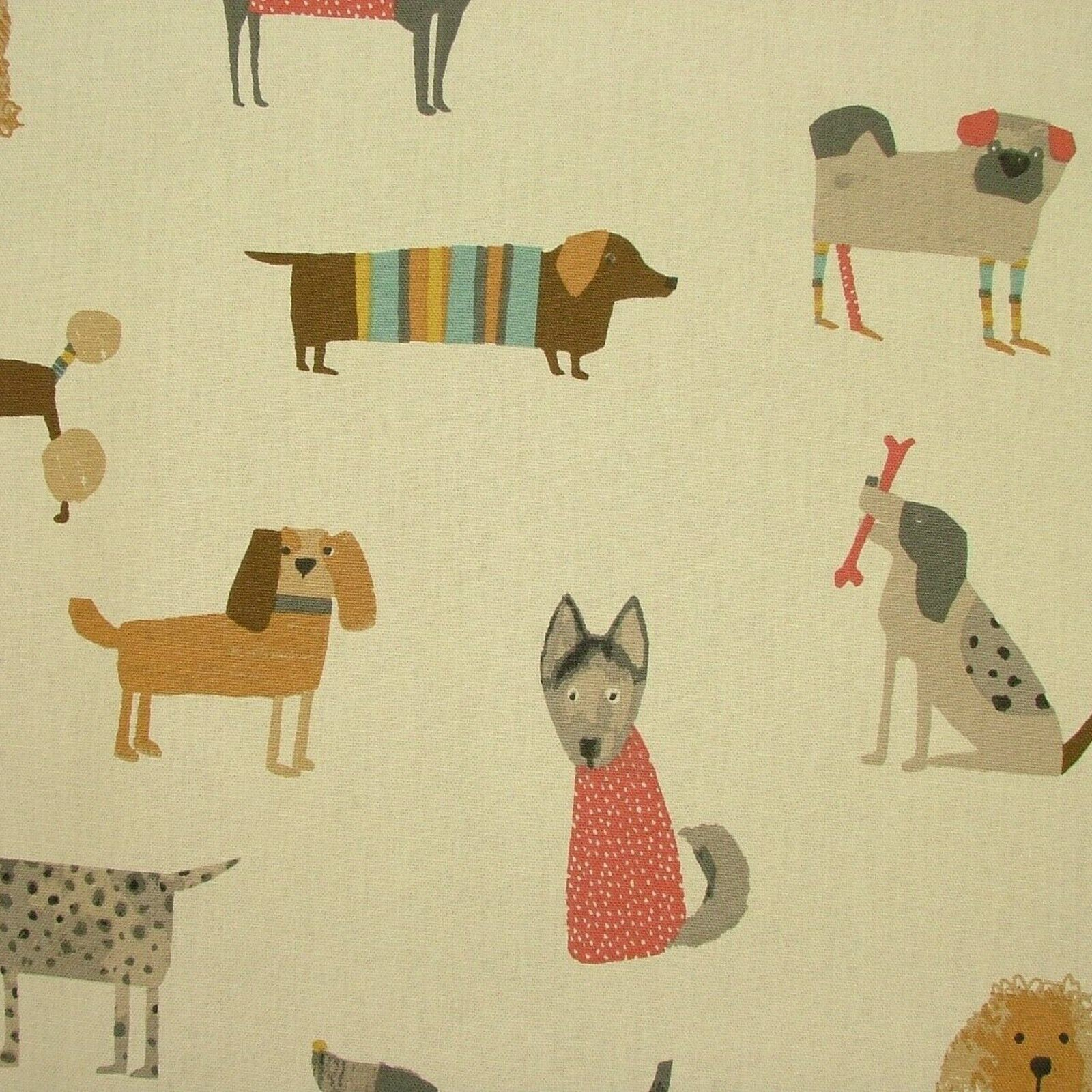 Taupe Dog Oilcloth by the metre