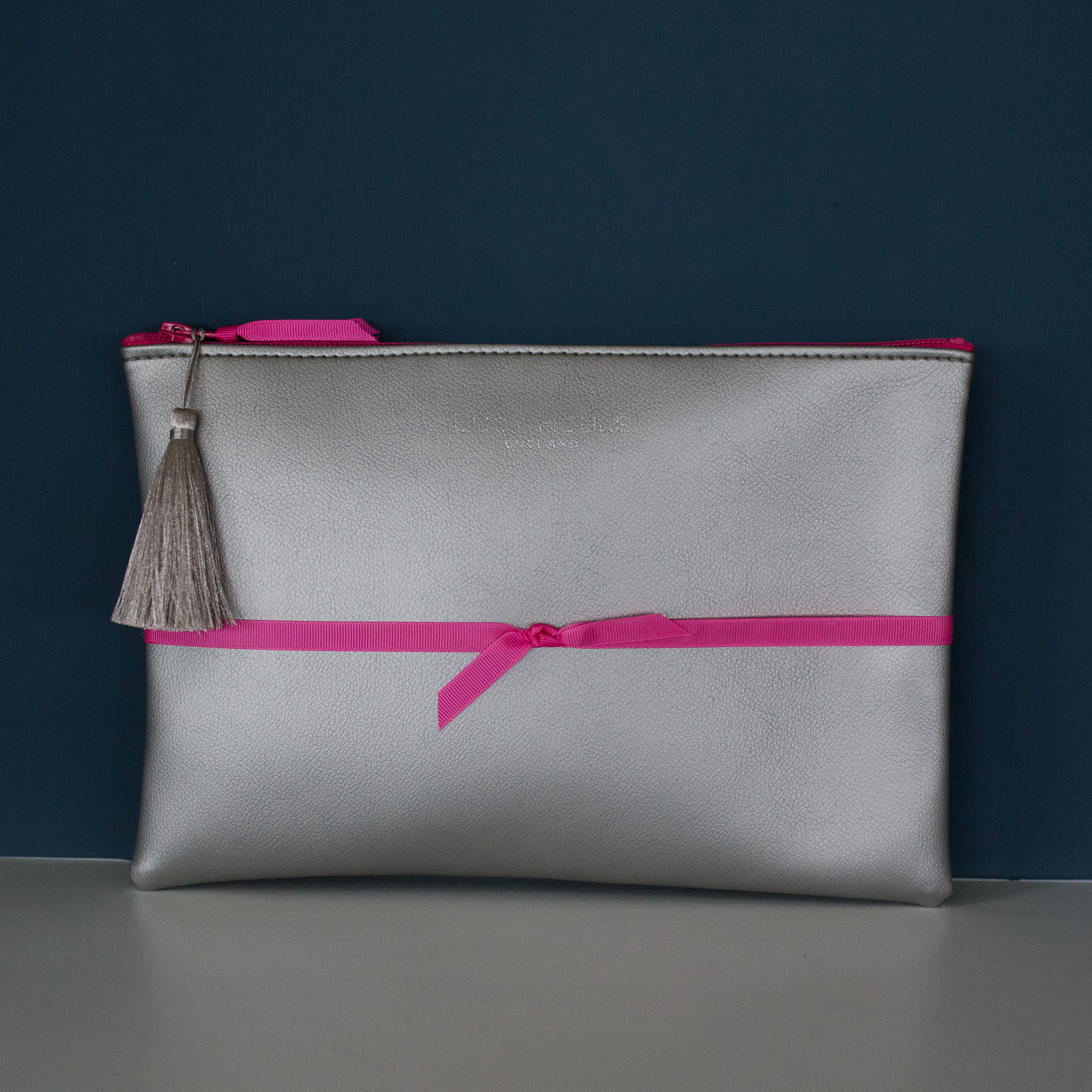 Faux Leather Silver Clutch with Pink Zip