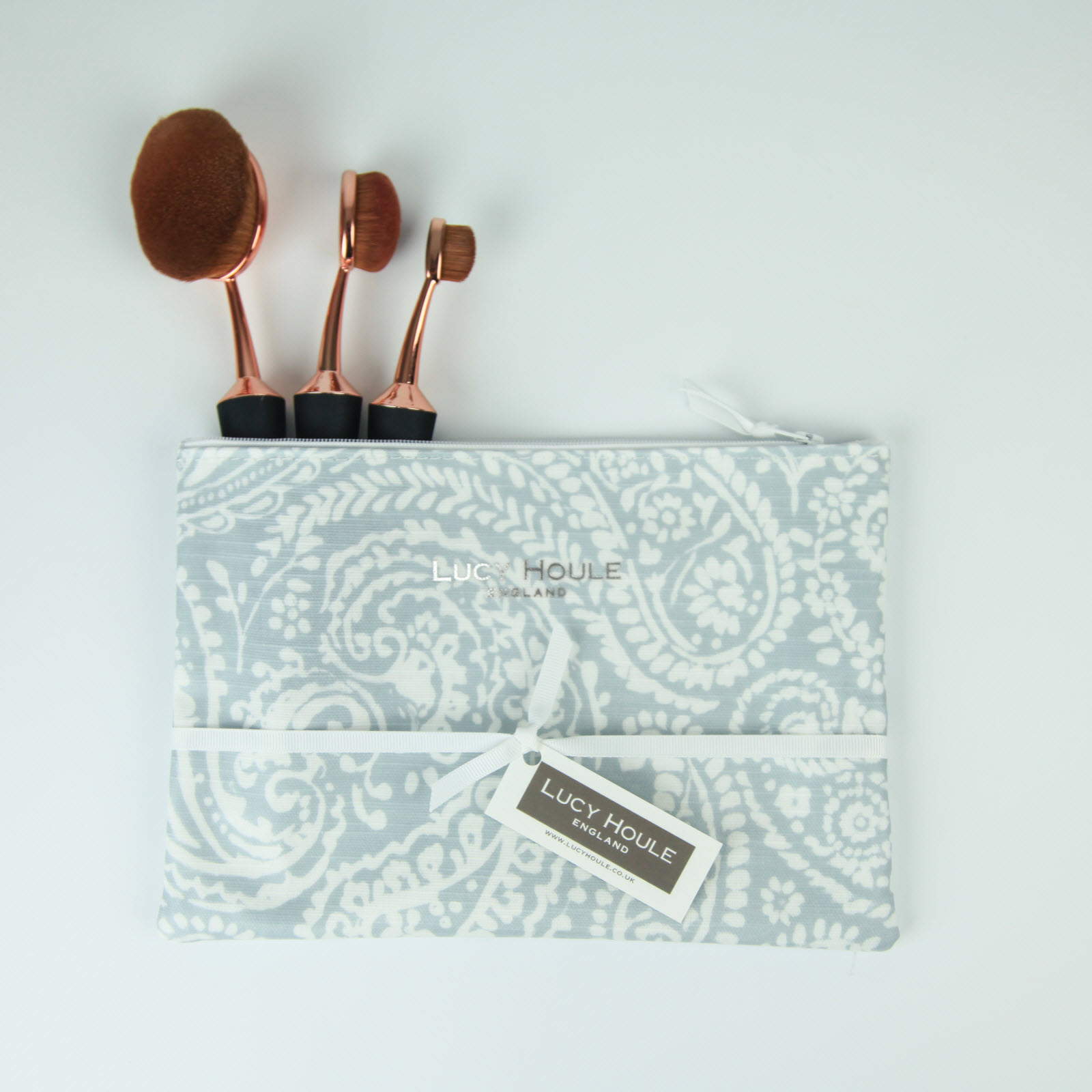 Grey Paisley Make-Up Bag with White Zip