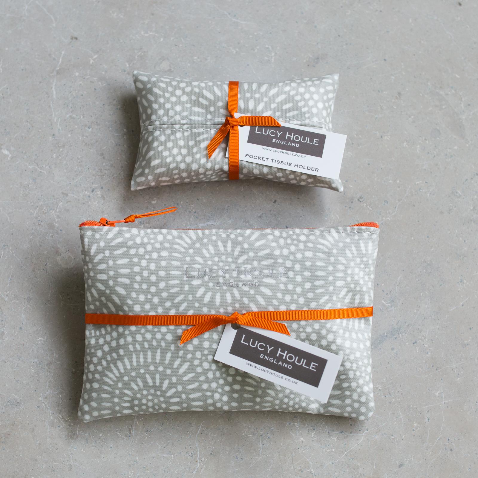 Stone Sunburst  Handbag Set Orange Zip
