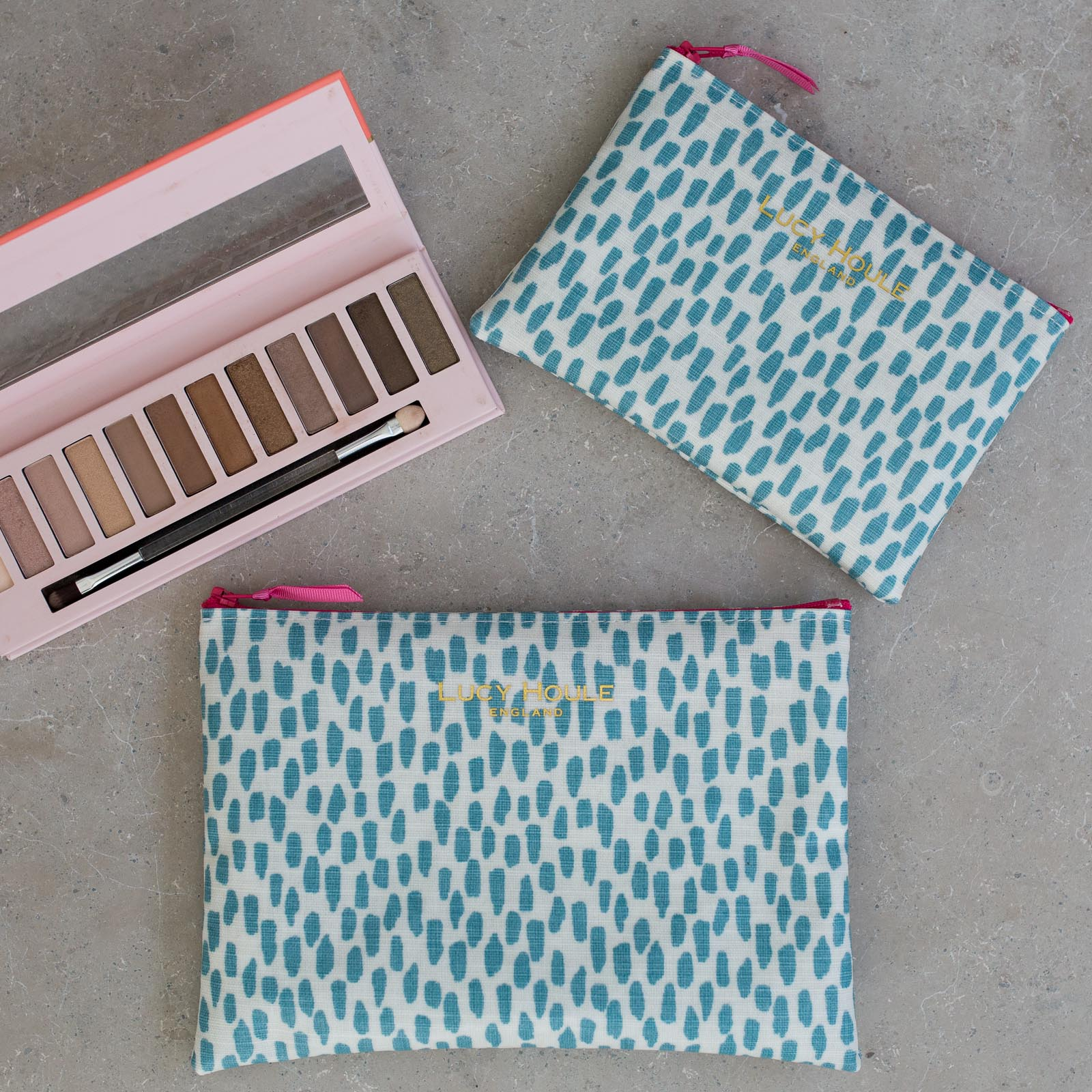 Aqua Cobblestone Make-Up Bag with Hot Pink Zip 'Limited Edition'