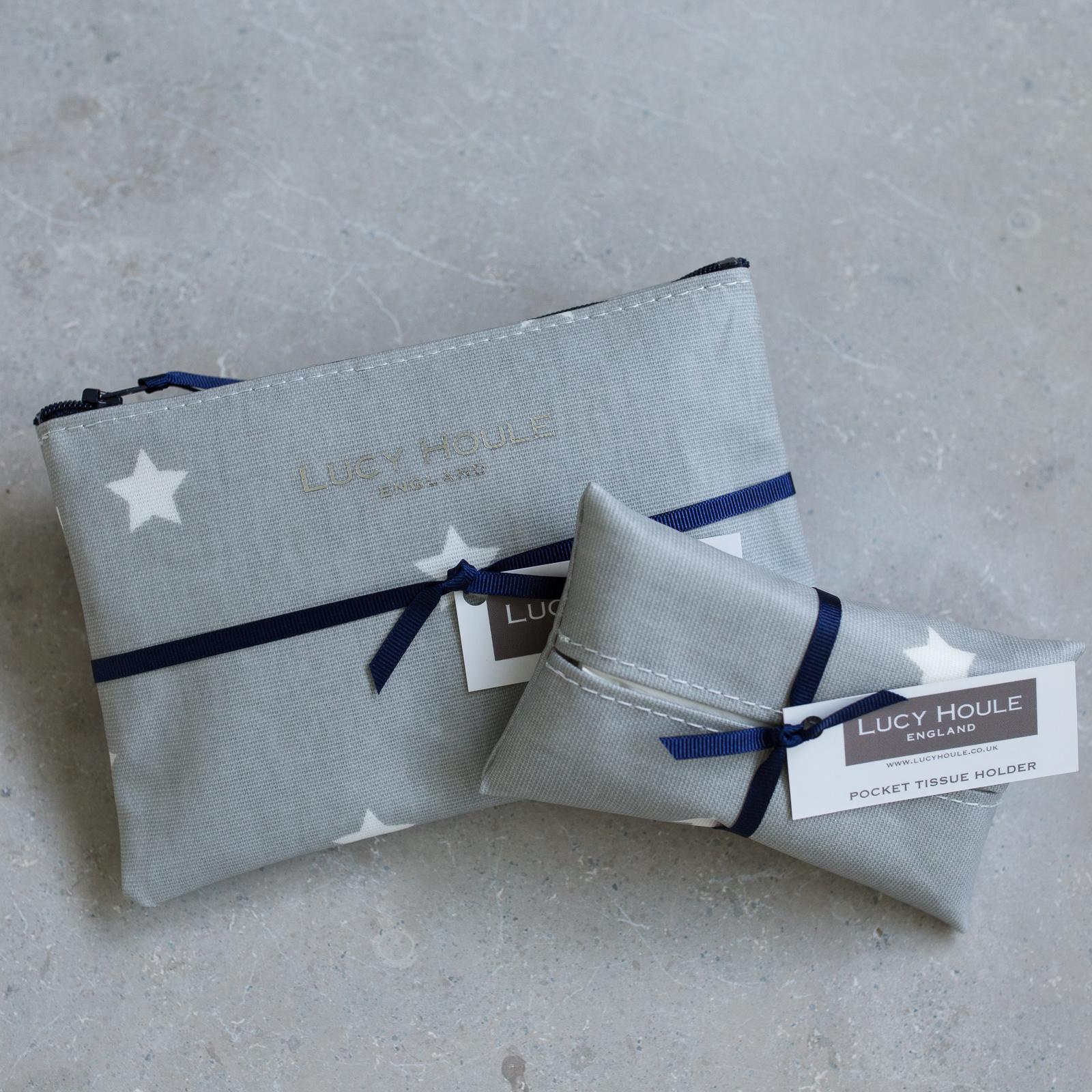 Grey & White Star Handbag Set Navy Zip